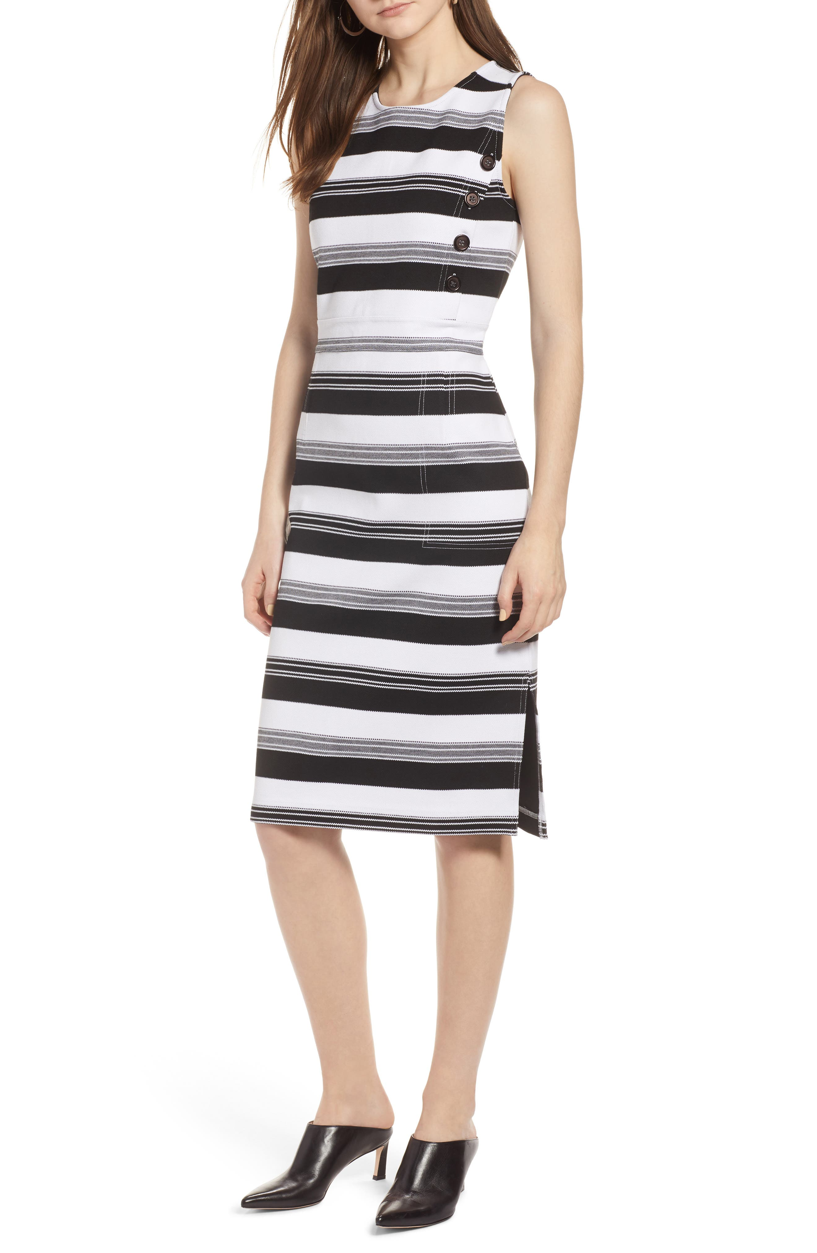 Stripe Knit Dress,                             Main thumbnail 1, color,                             Black- Ivory Stripe