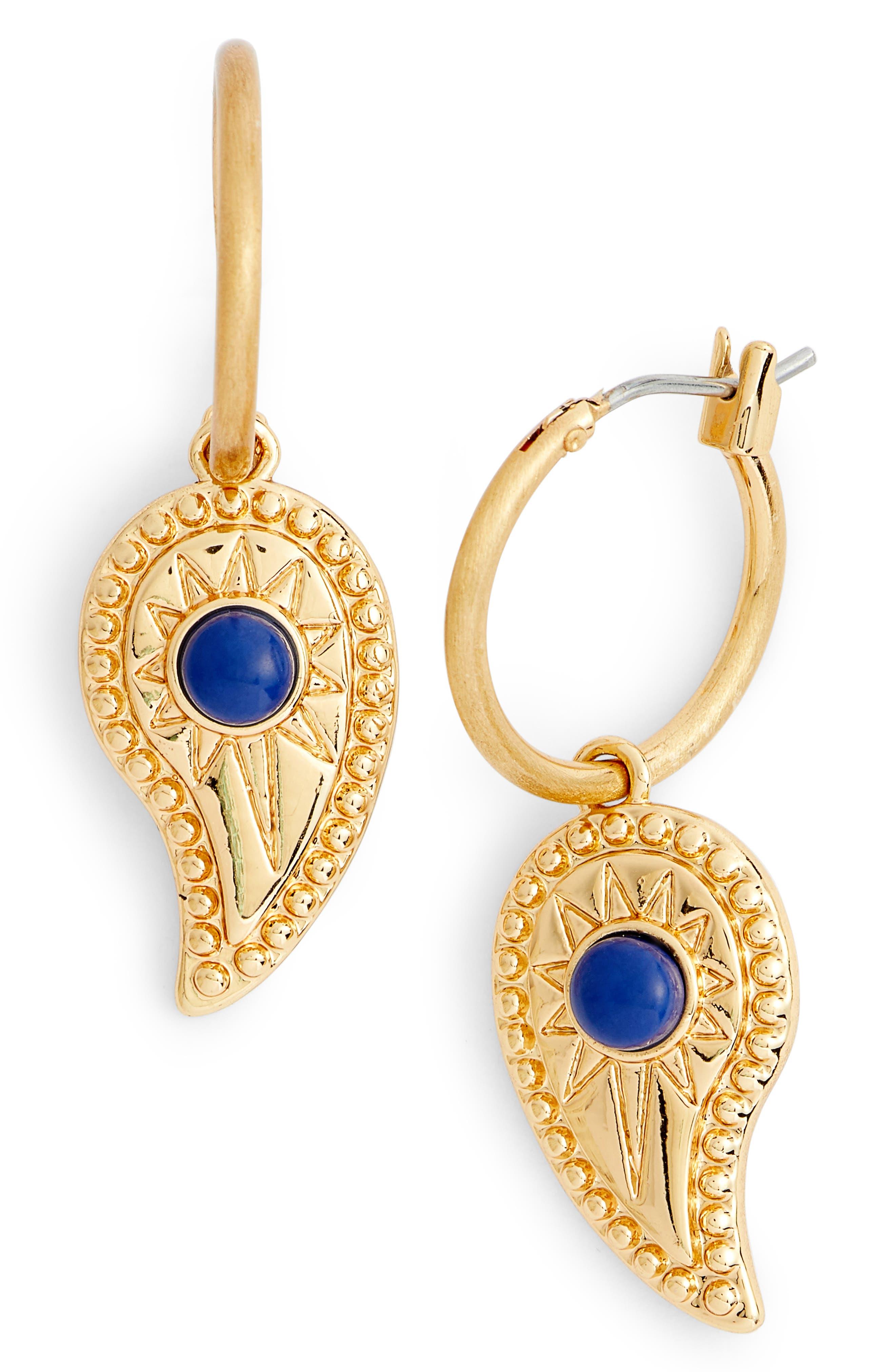 Paisley Hoop Earrings,                             Main thumbnail 1, color,                             Gold