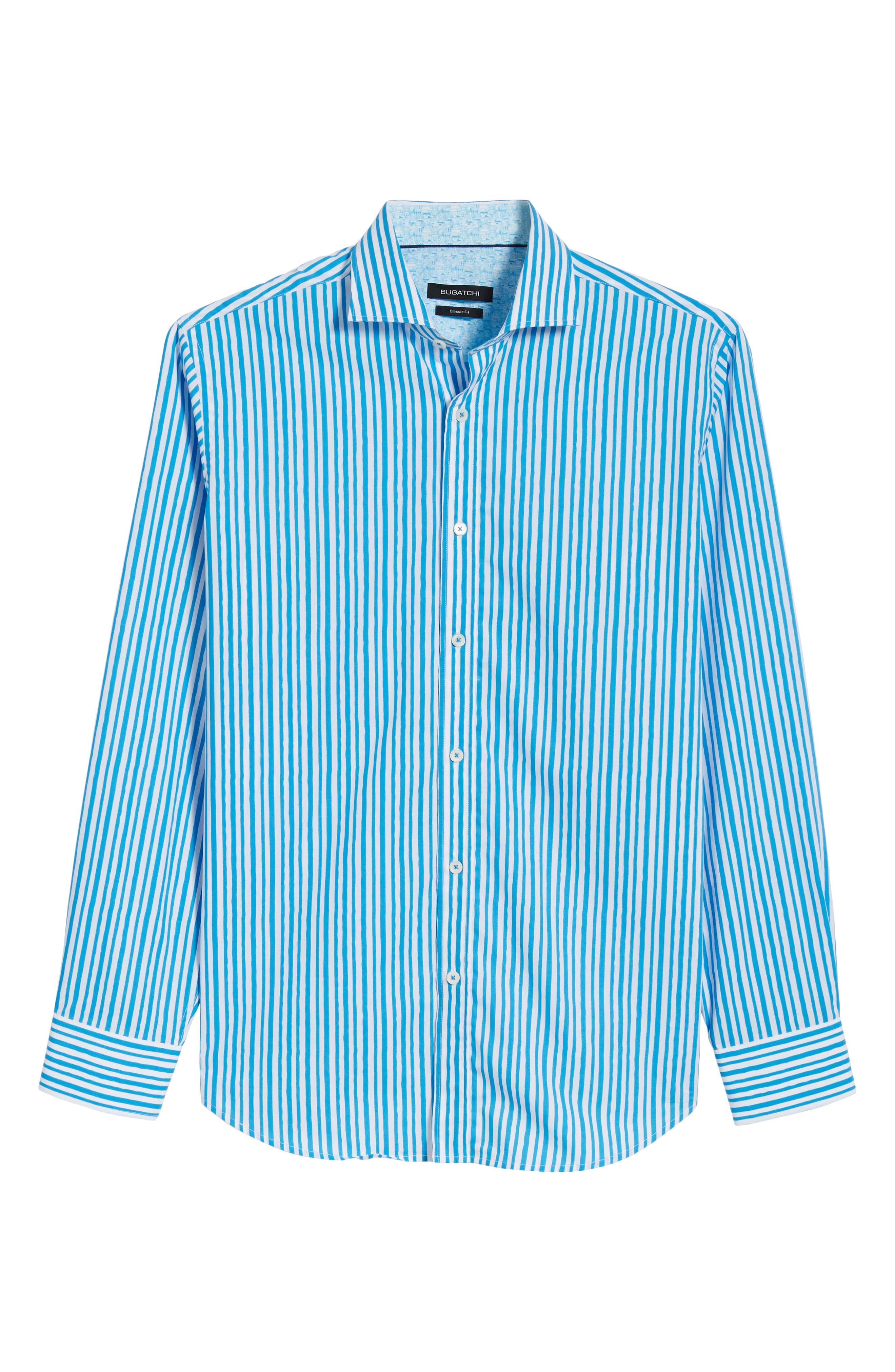 Classic Fit Wavy Stripe Sport Shirt,                             Alternate thumbnail 6, color,                             Turquoise