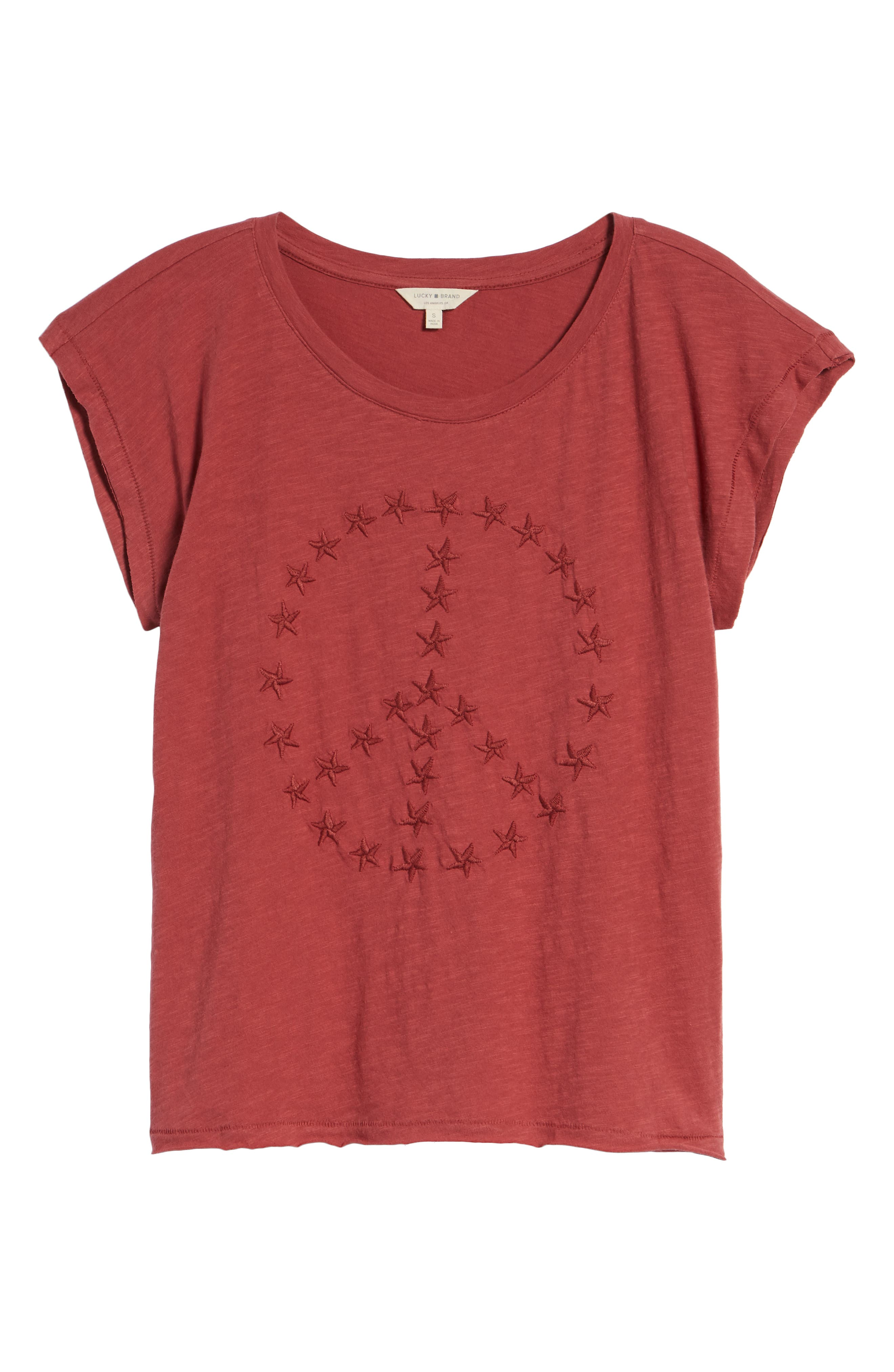 Embroidered Peace Sign Tee,                             Alternate thumbnail 6, color,                             Rosewood