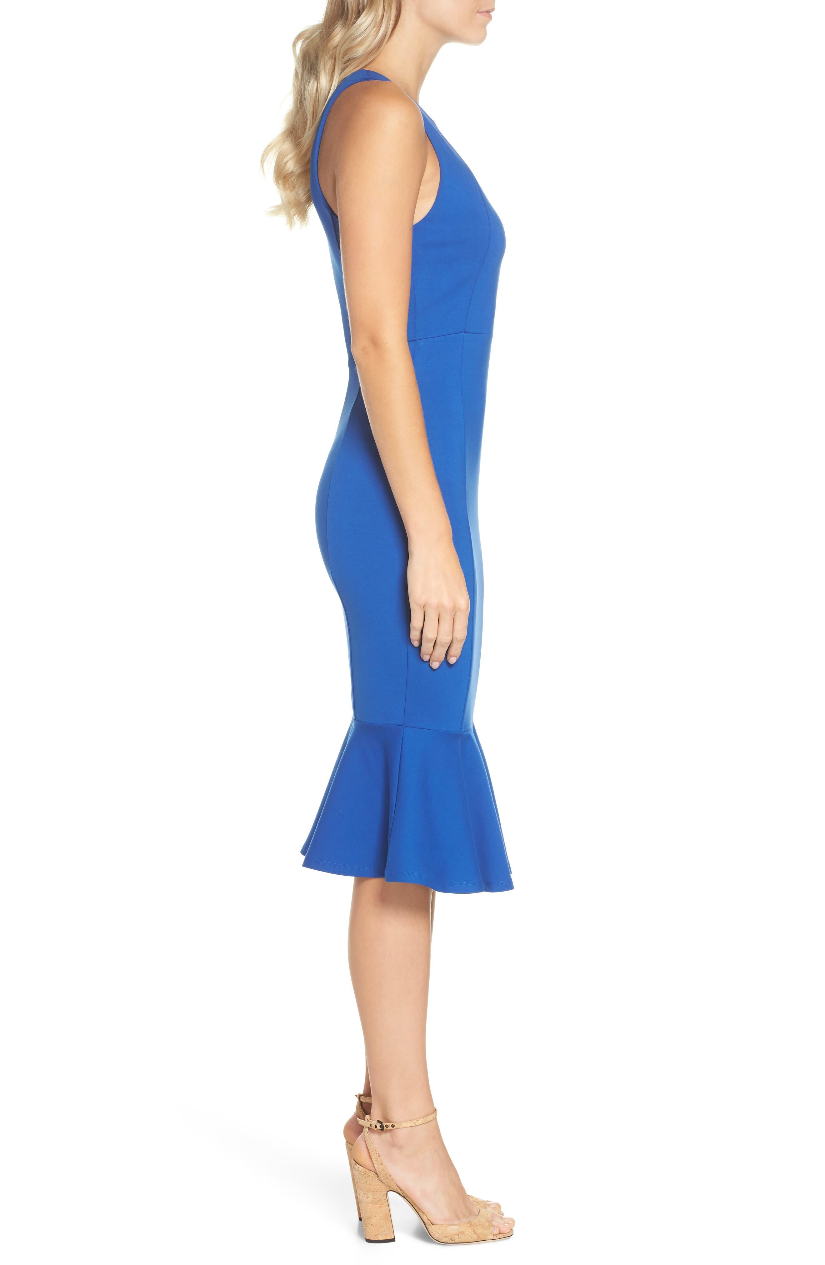 Monrow Flutter Hem Midi Dress,                             Alternate thumbnail 3, color,                             Cobalt