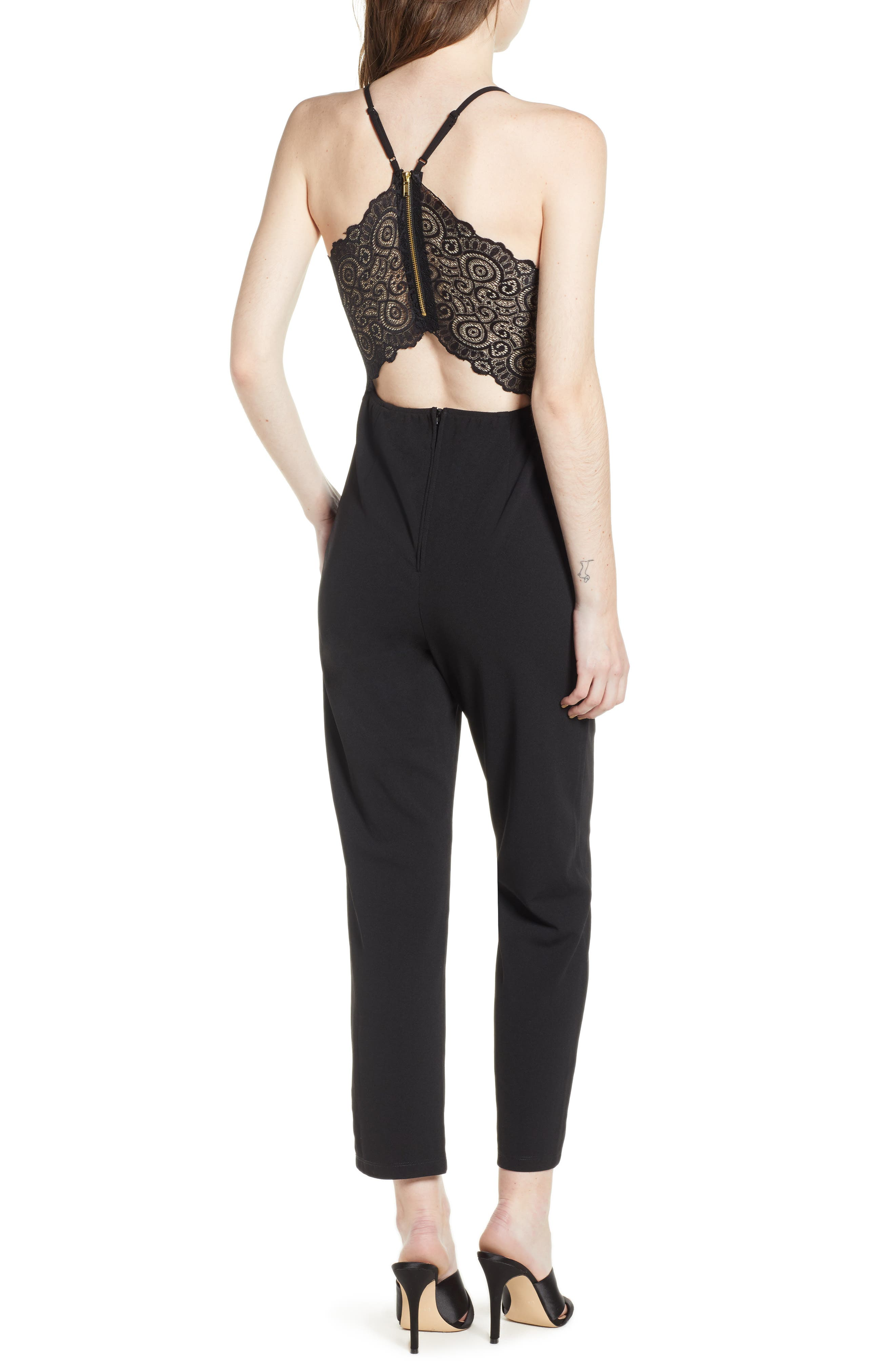 Love, Nicki Lew Lace Detail Jumpsuit,                             Alternate thumbnail 2, color,                             Black