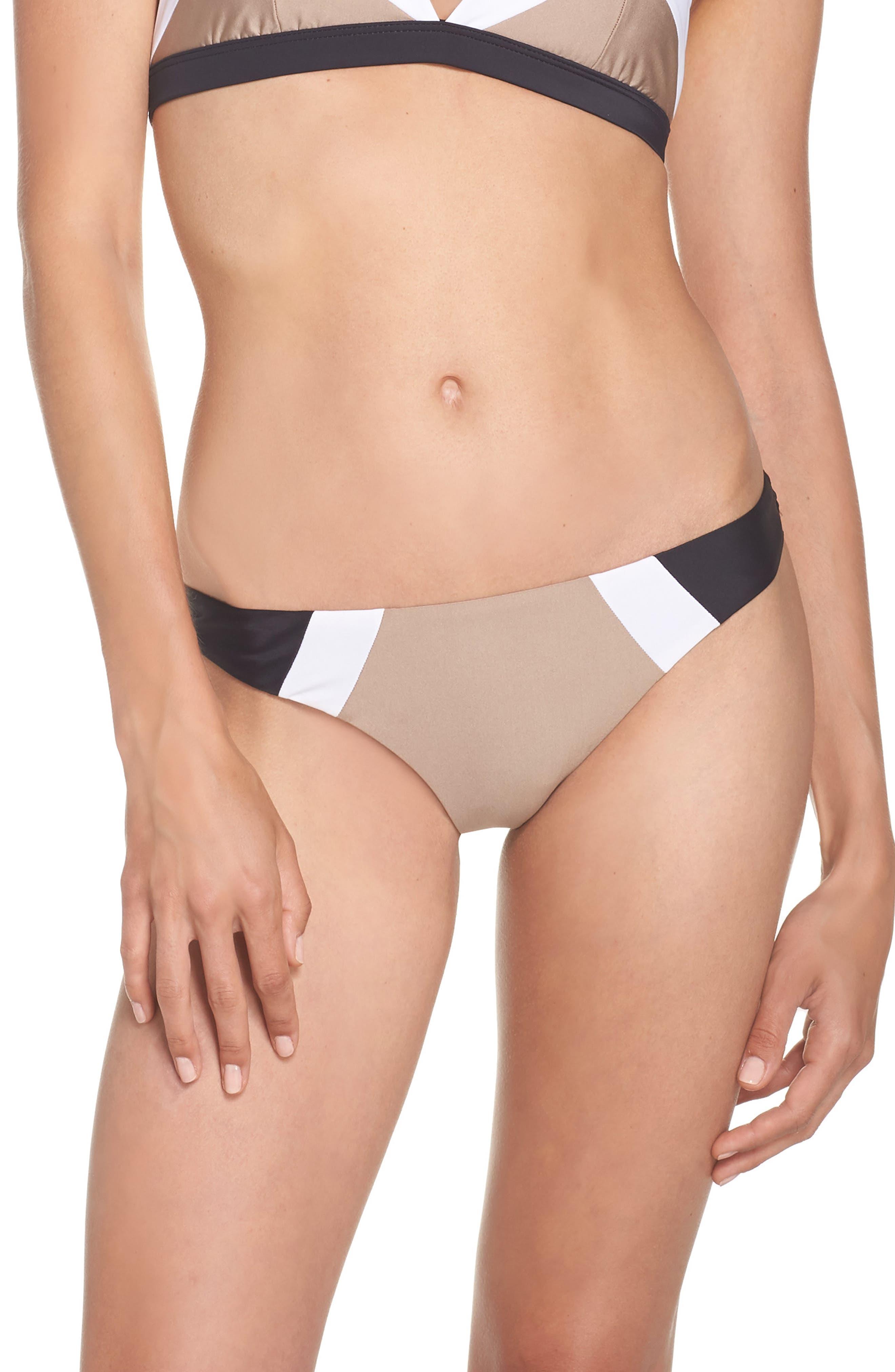 Teeny Colorblock Bikini Bottoms,                             Main thumbnail 1, color,                             Cadillac