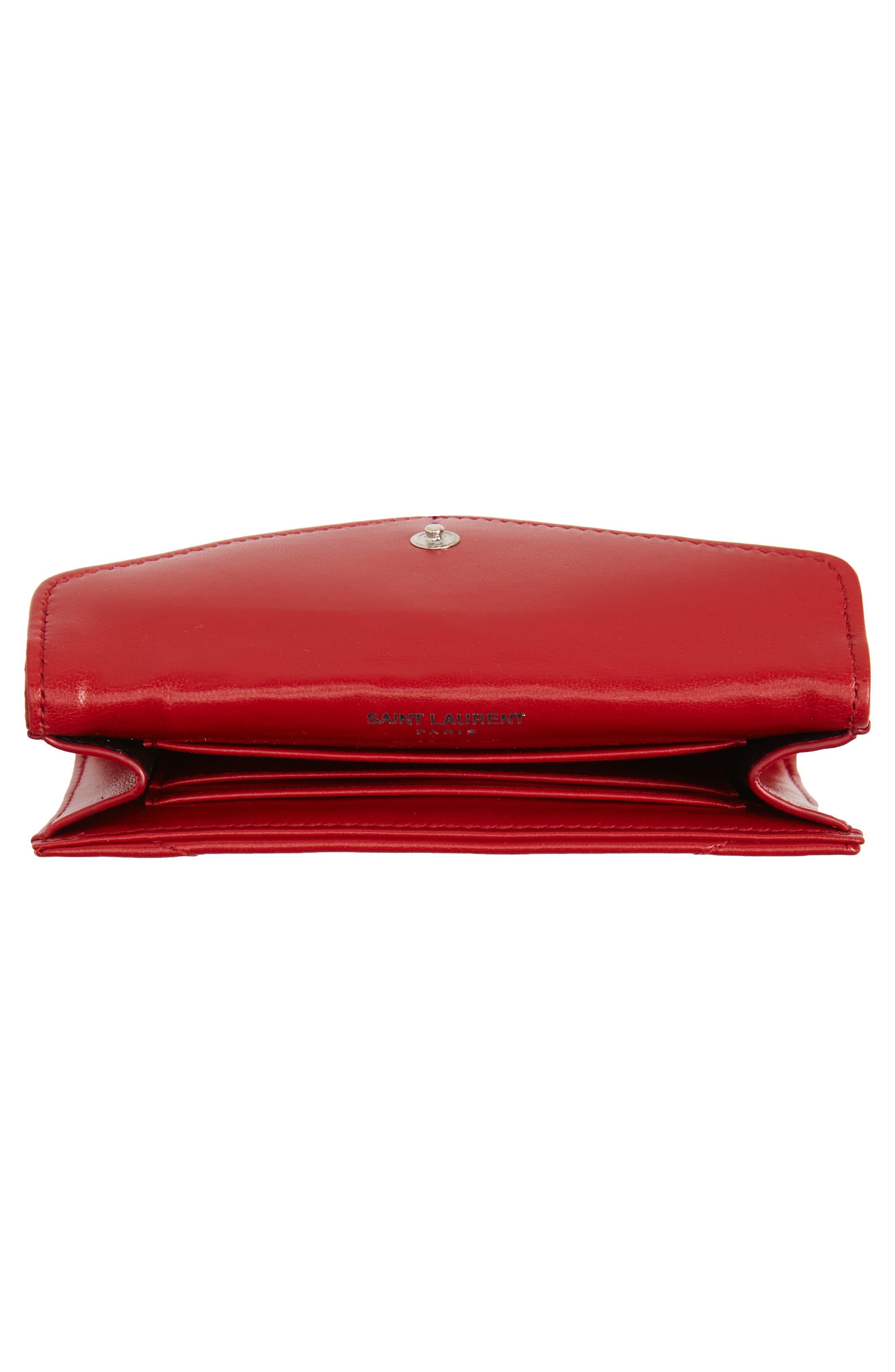 Small Loulou Matelassé Leather Wallet,                             Alternate thumbnail 2, color,                             Rouge Eros