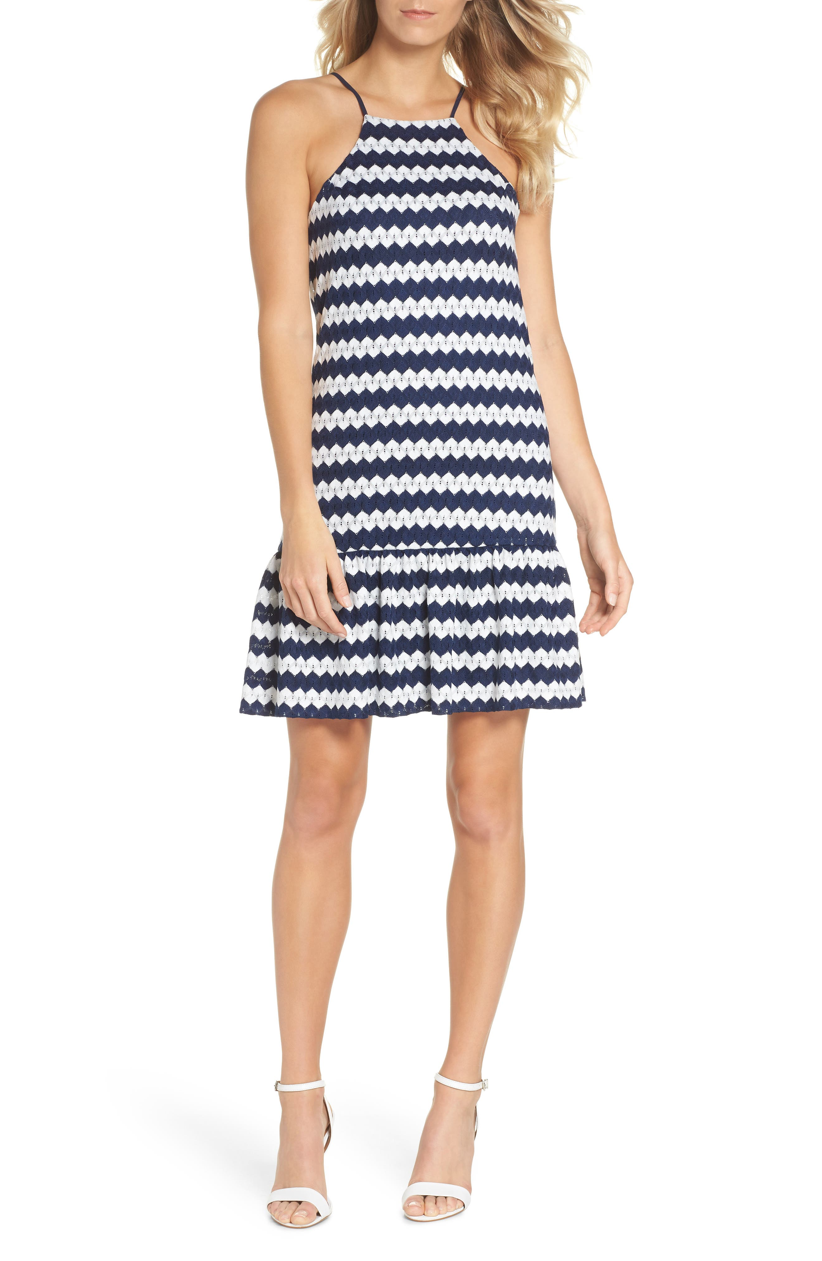 Zigzag Halter Shift Dress,                             Main thumbnail 1, color,                             Indigo/ Whitewash