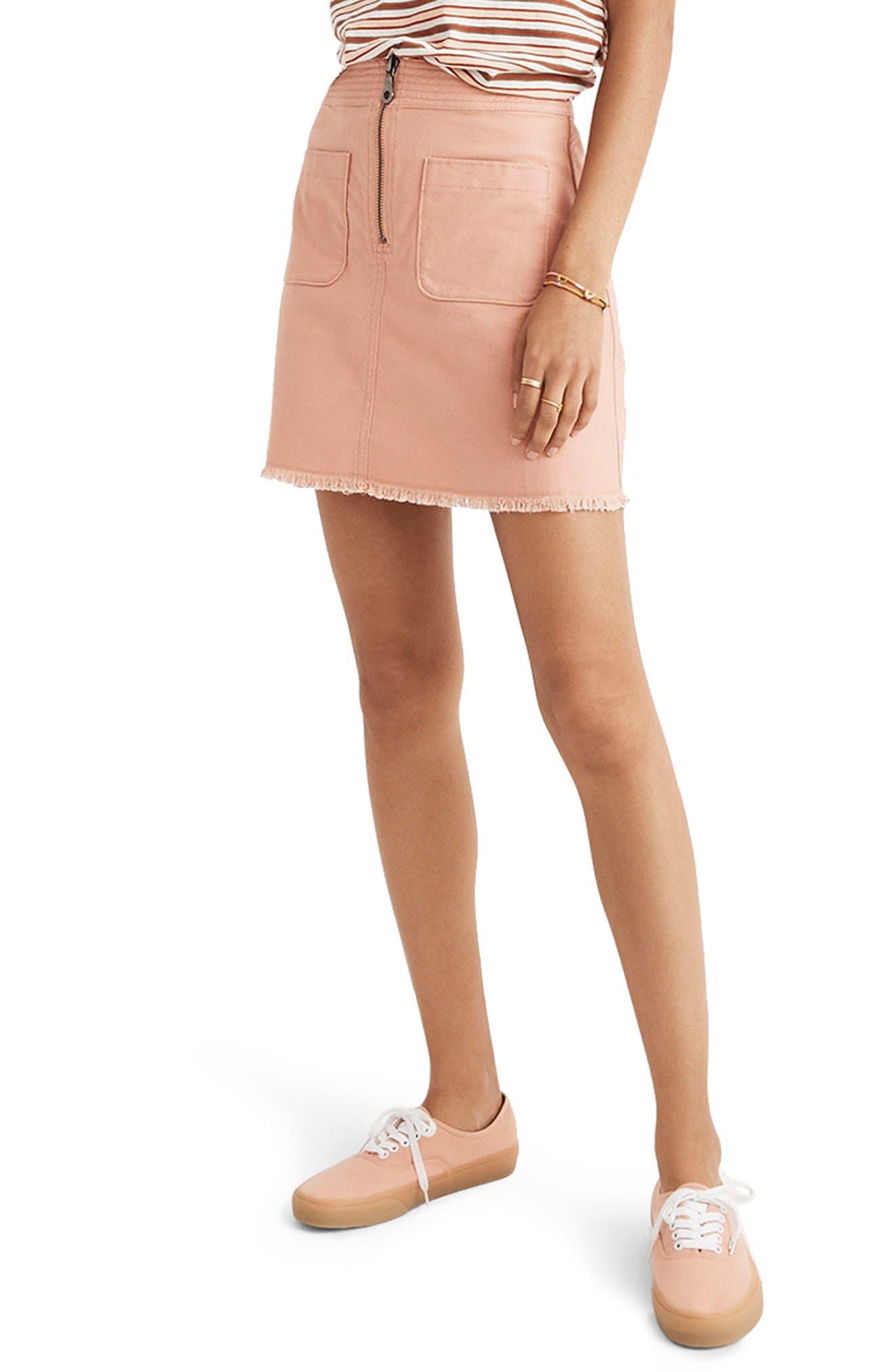 A-Line Zip Skirt,                         Main,                         color, Antique Coral