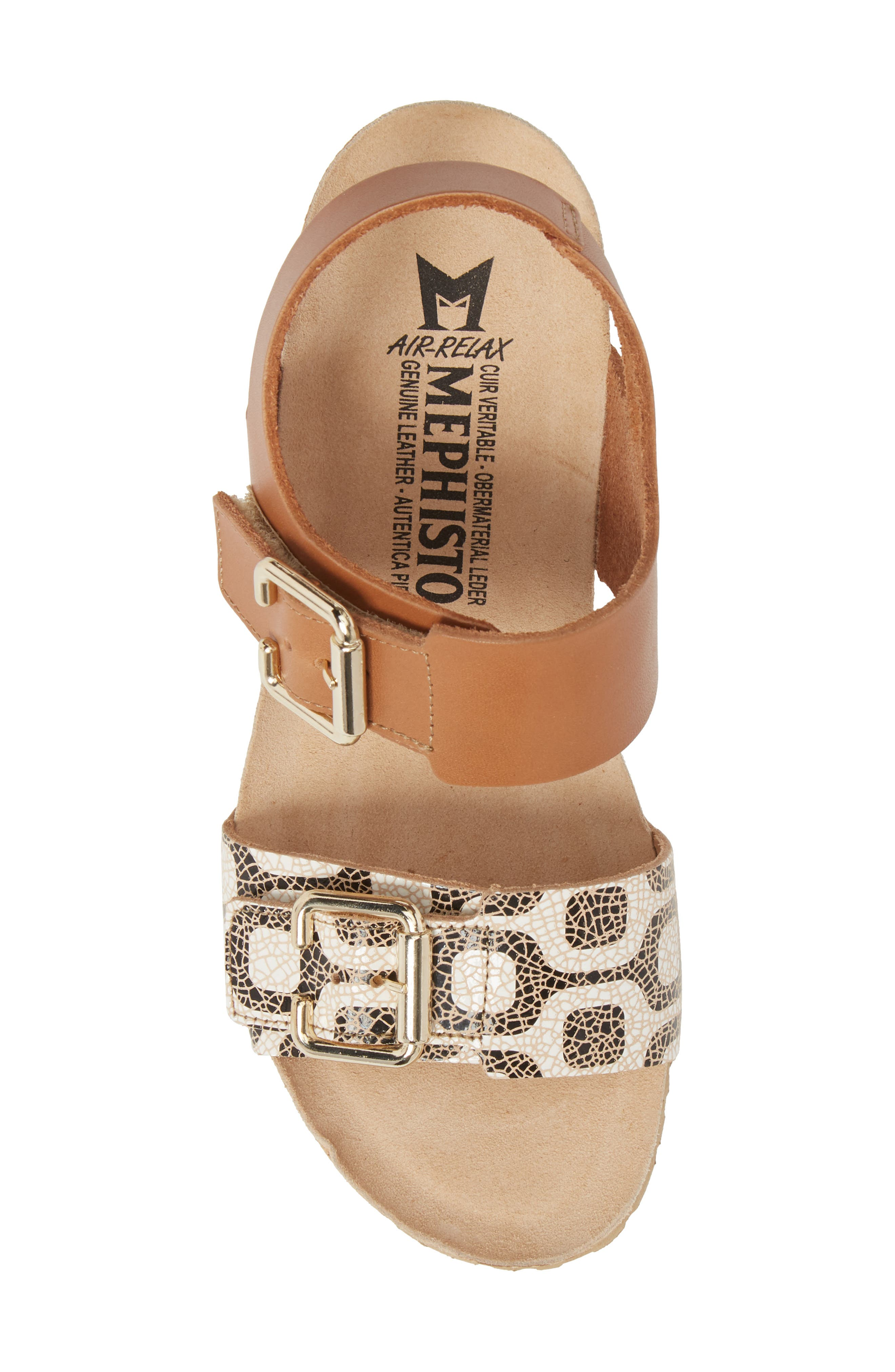 Lissandra Platform Wedge Sandal,                             Alternate thumbnail 5, color,                             Camel