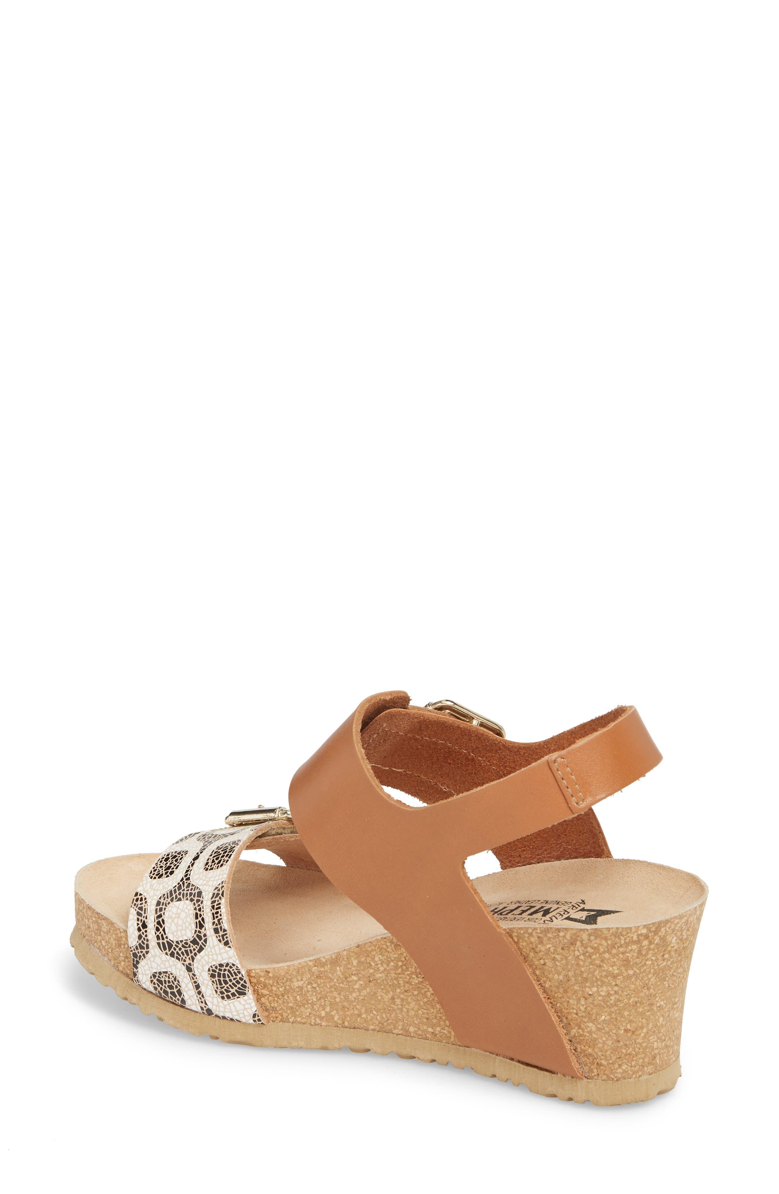 Lissandra Platform Wedge Sandal,                             Alternate thumbnail 2, color,                             Camel