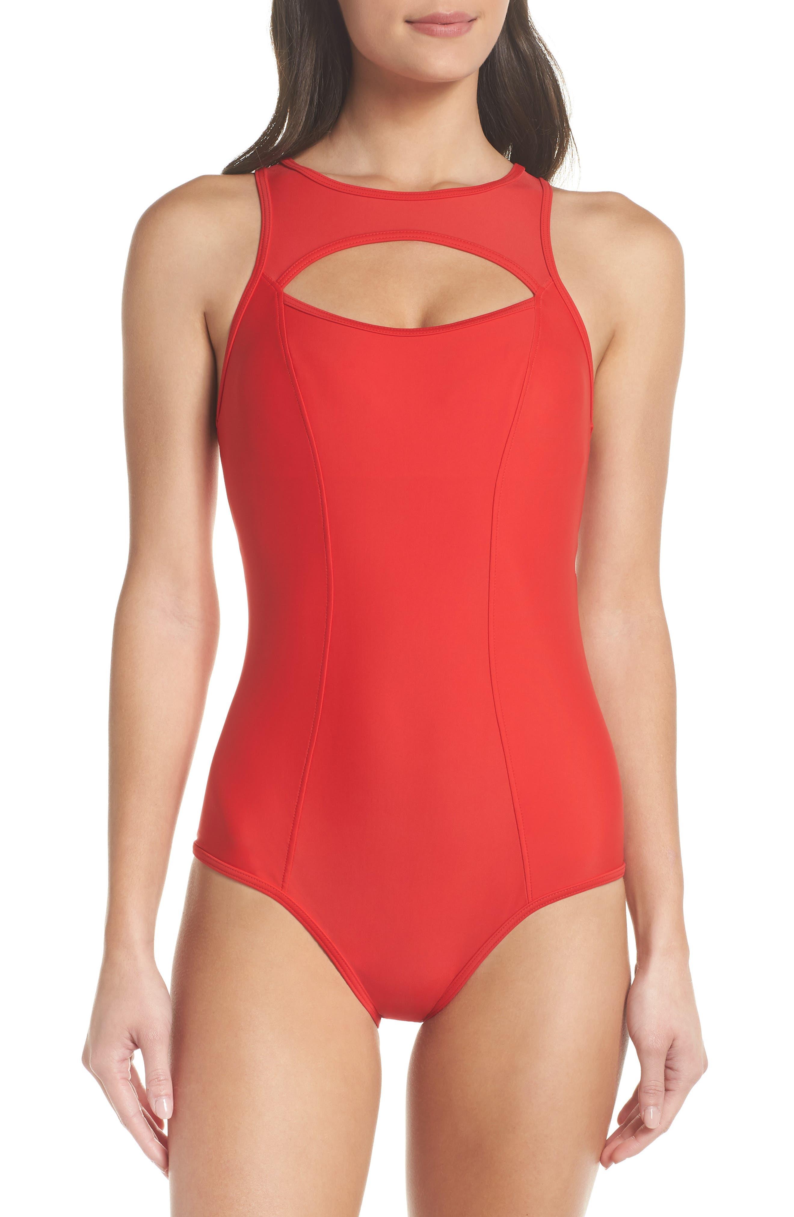 Saldana One-Piece Cutout Swimsuit,                         Main,                         color, Red