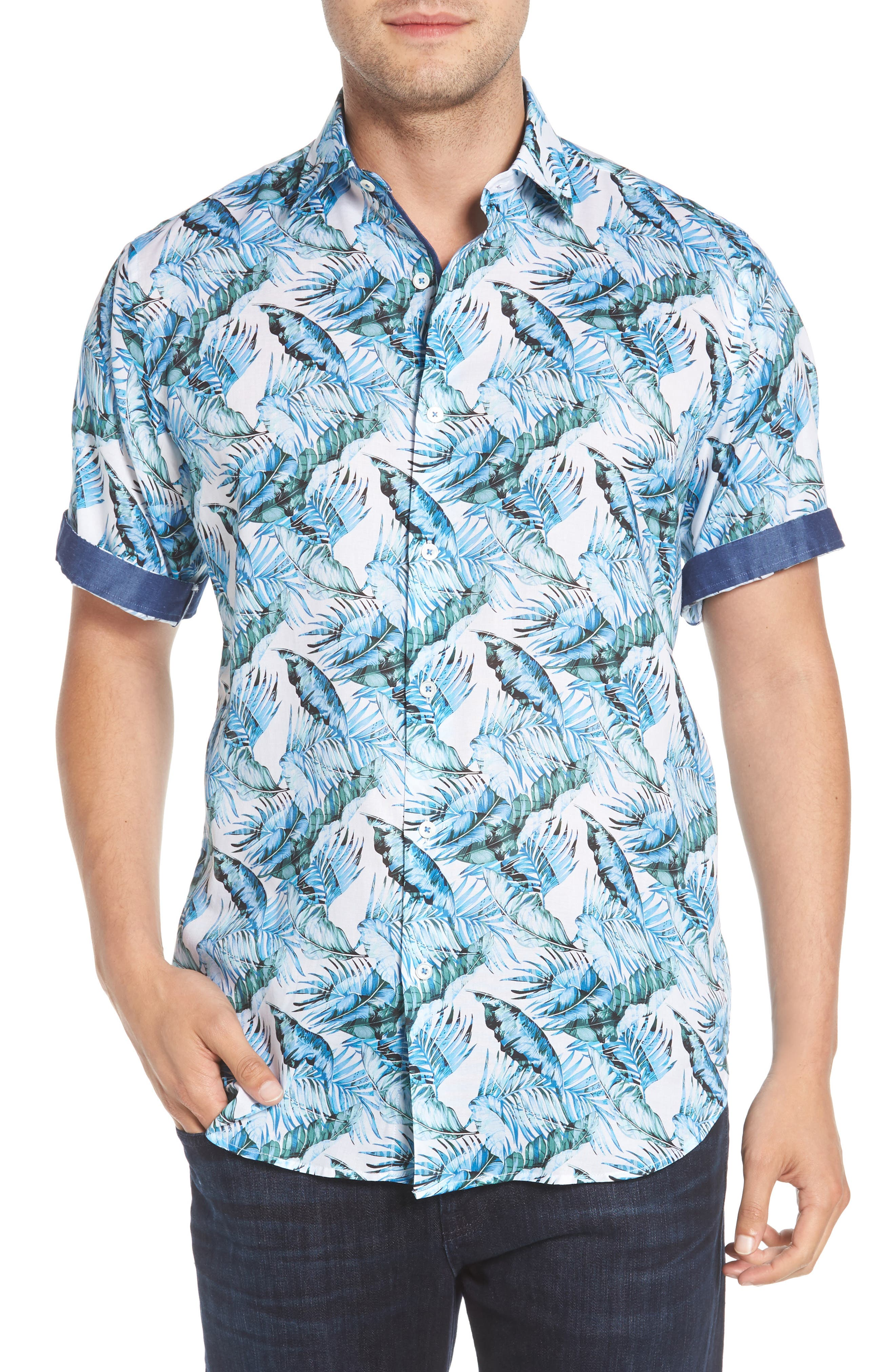 Classic Fit Palm Print Sport Shirt,                             Alternate thumbnail 2, color,                             Turquoise