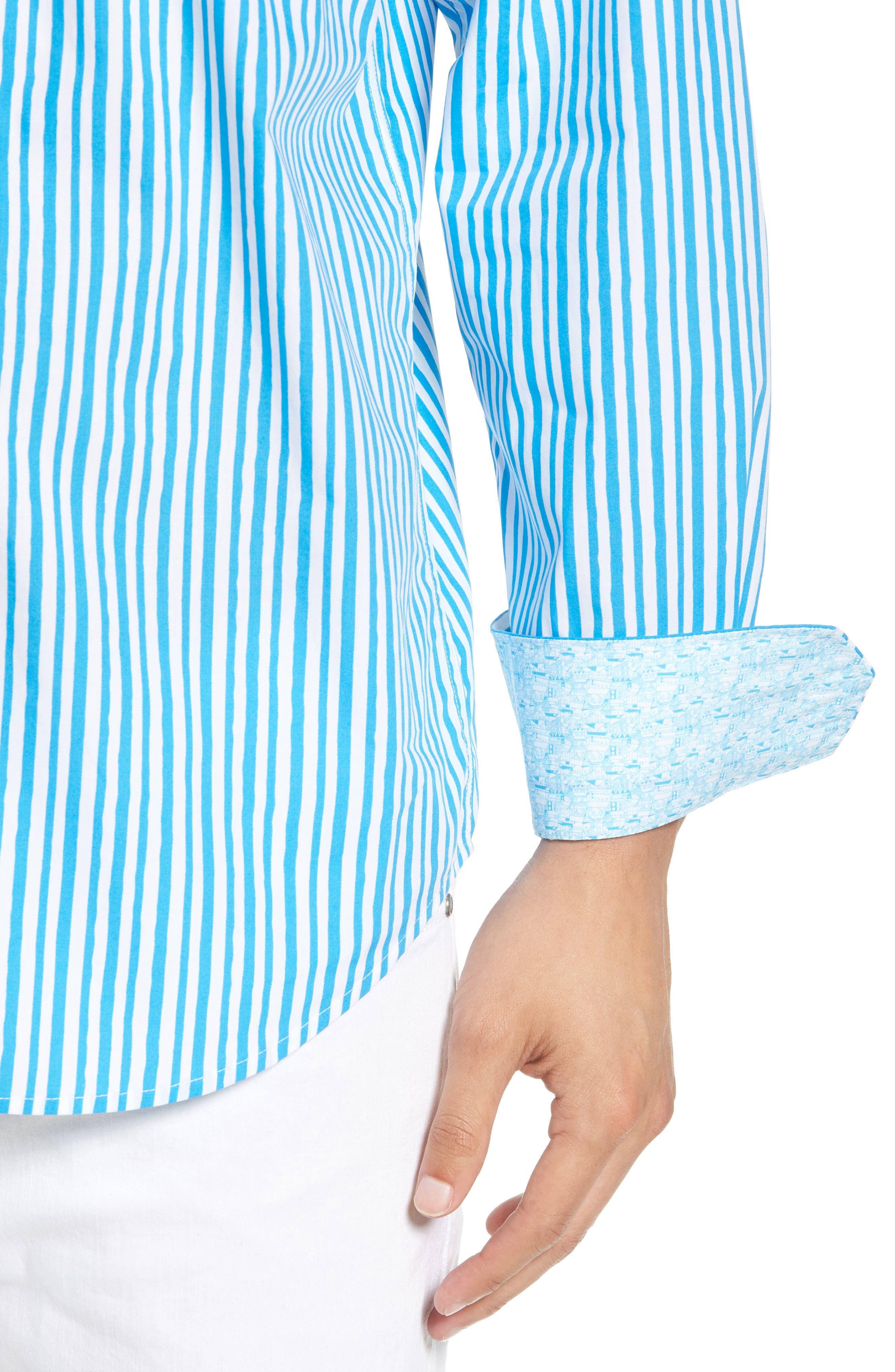 Classic Fit Wavy Stripe Sport Shirt,                             Alternate thumbnail 2, color,                             Turquoise