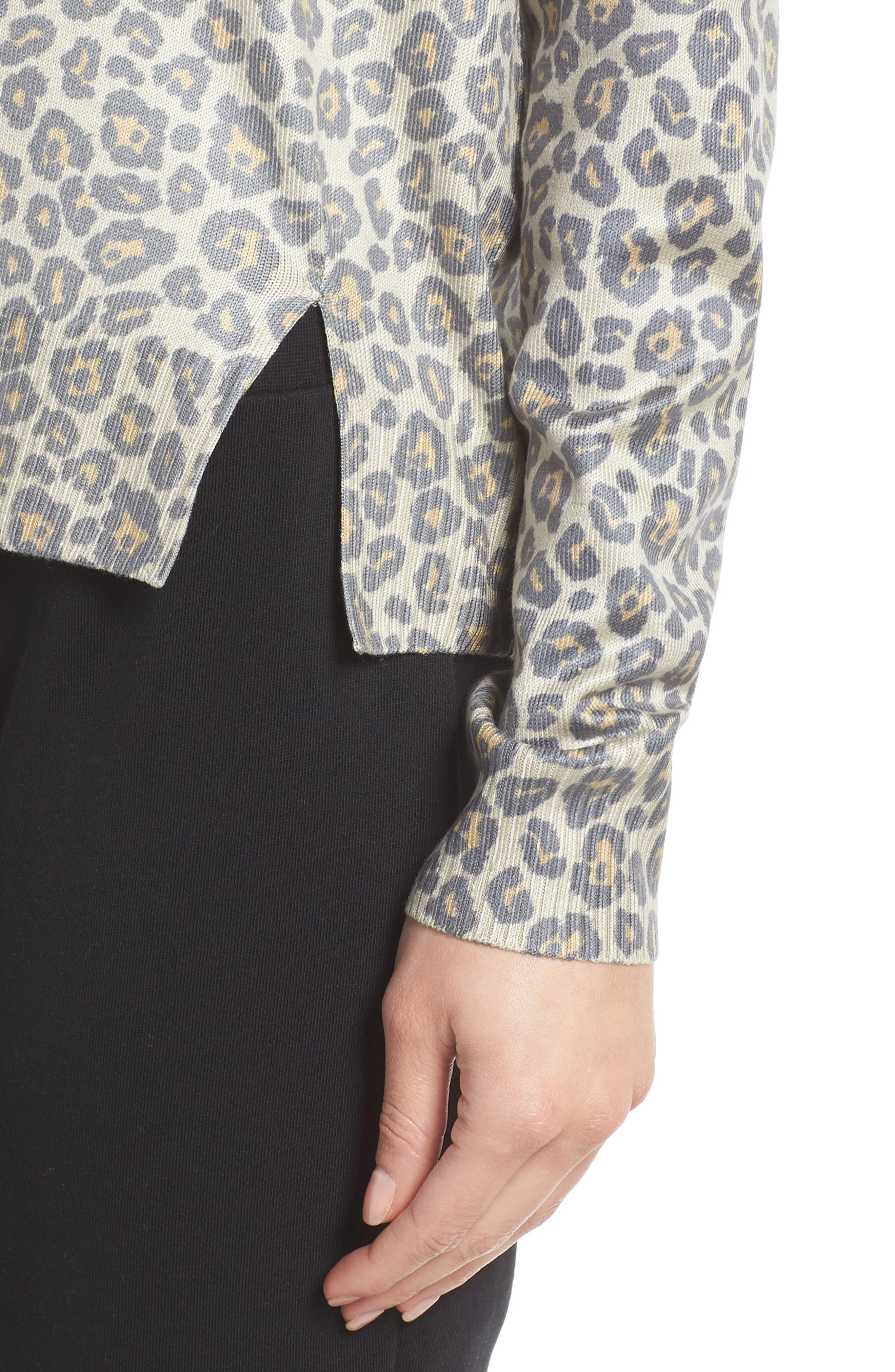 Leopard Print Sweatshirt,                             Alternate thumbnail 4, color,                             Beige Leopard