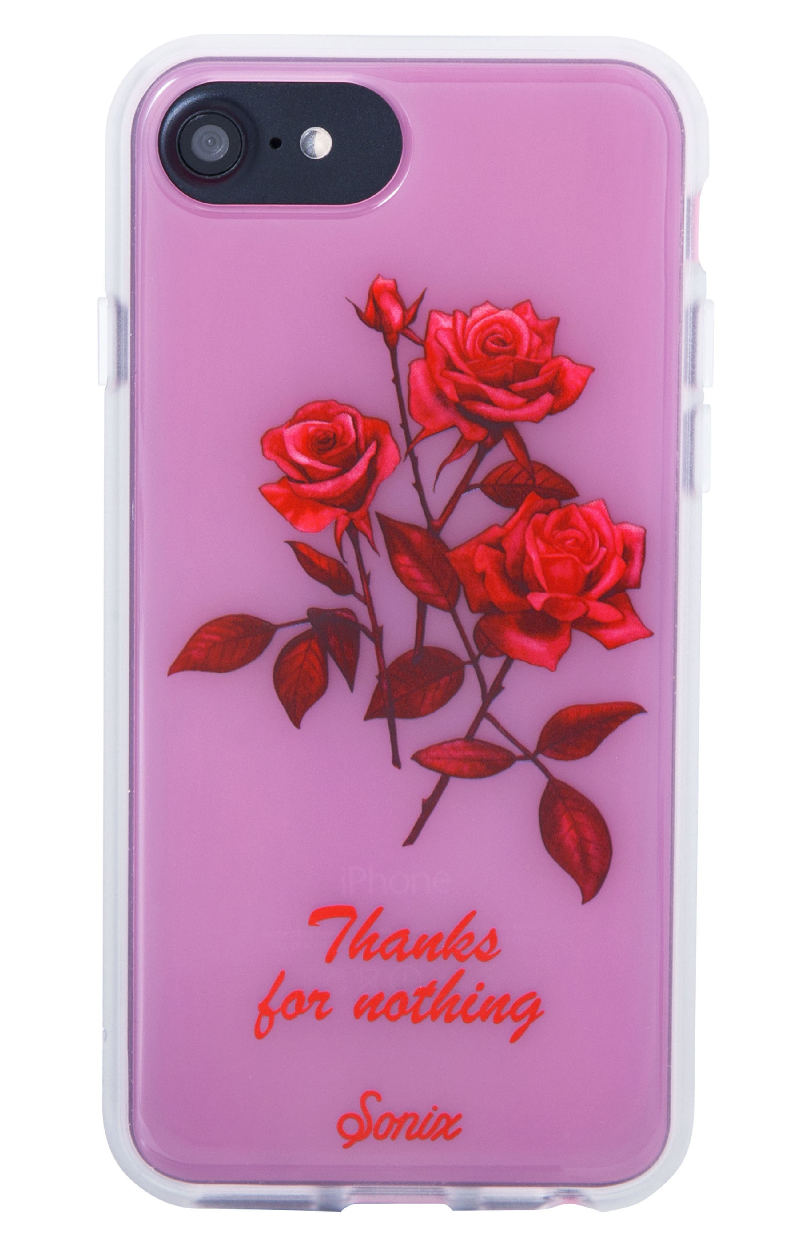 Thanks for Nothing iPhone 6/6s/7/8 & 6/6s/7/8 Plus Case,                             Main thumbnail 1, color,                             Pink/ Red
