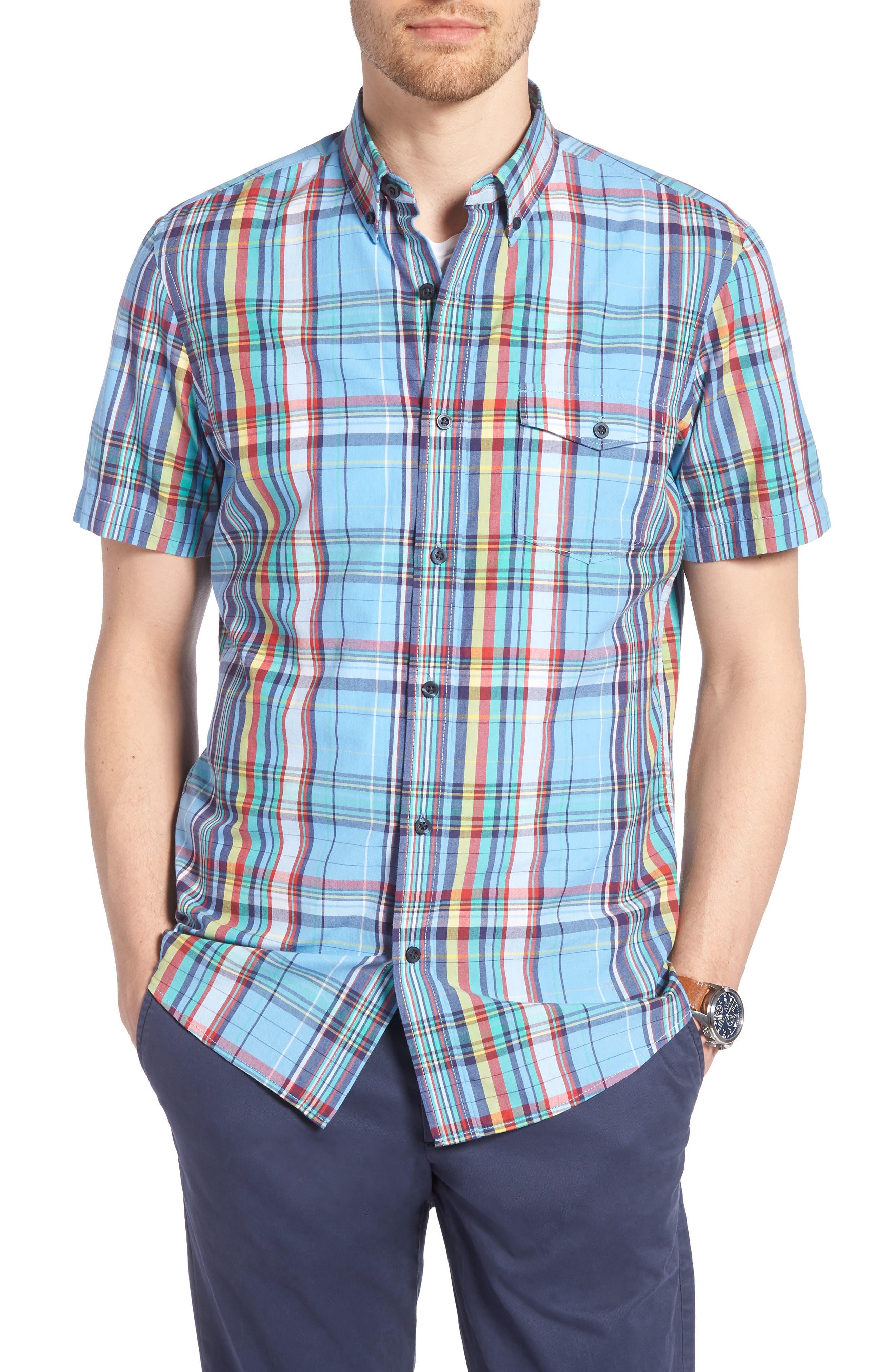 Ivy Trim Fit Madras Plaid Sport Shirt,                         Main,                         color, Blue Chambray Multi Plaid