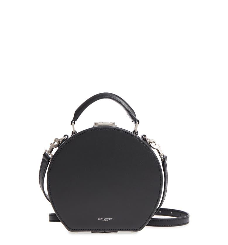 21156c1a1b2b Shop Saint Laurent Small Mica Leather Hat Box - Black In Nero  Manto ...