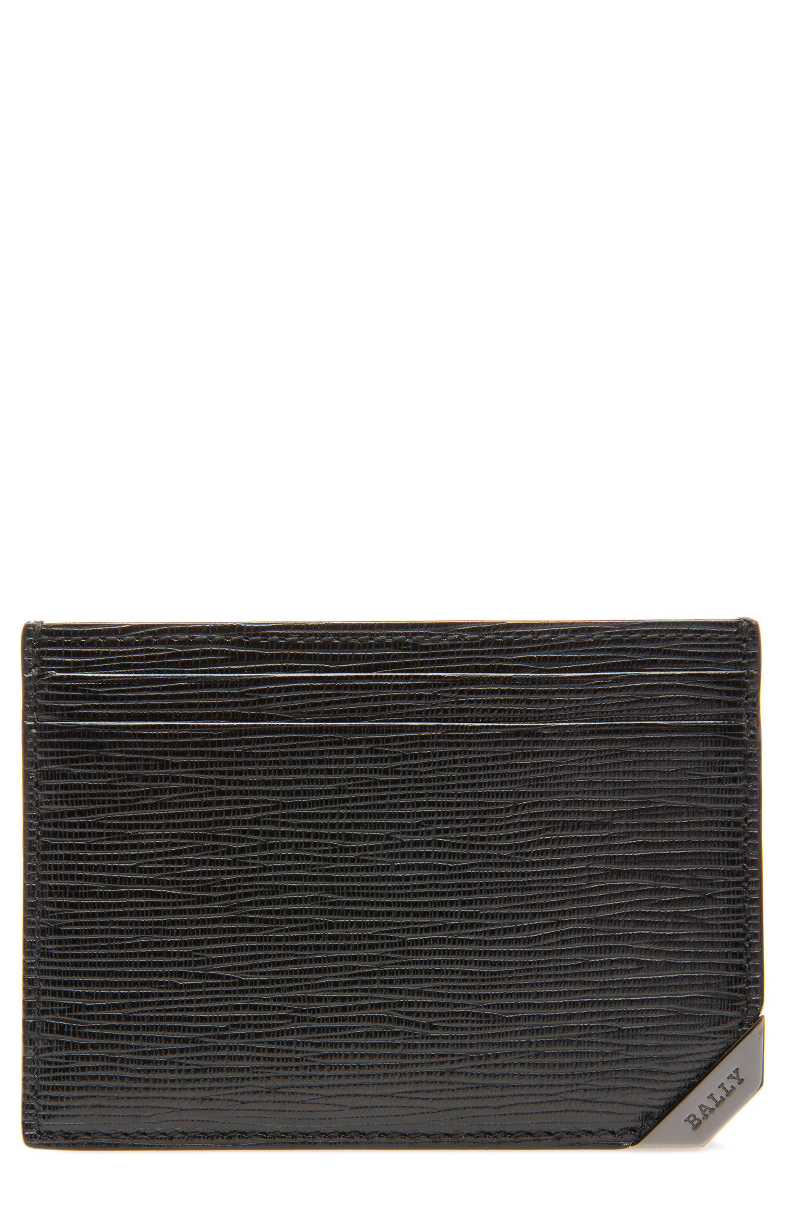 Bhar Leather Card Holder,                             Main thumbnail 1, color,                             Black