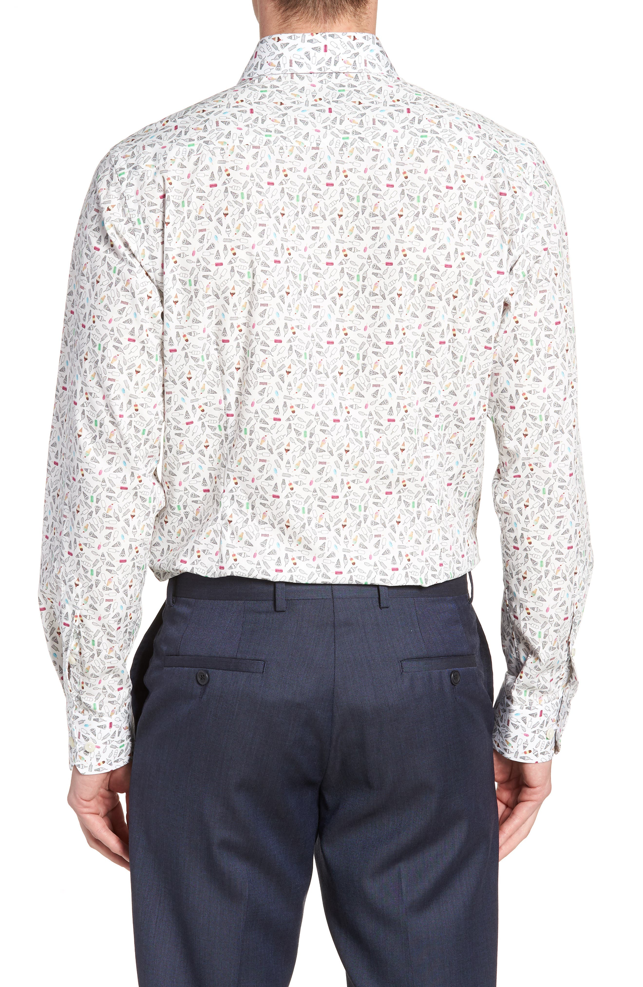 Contemporary Fit Print Dress Shirt,                             Alternate thumbnail 3, color,                             White