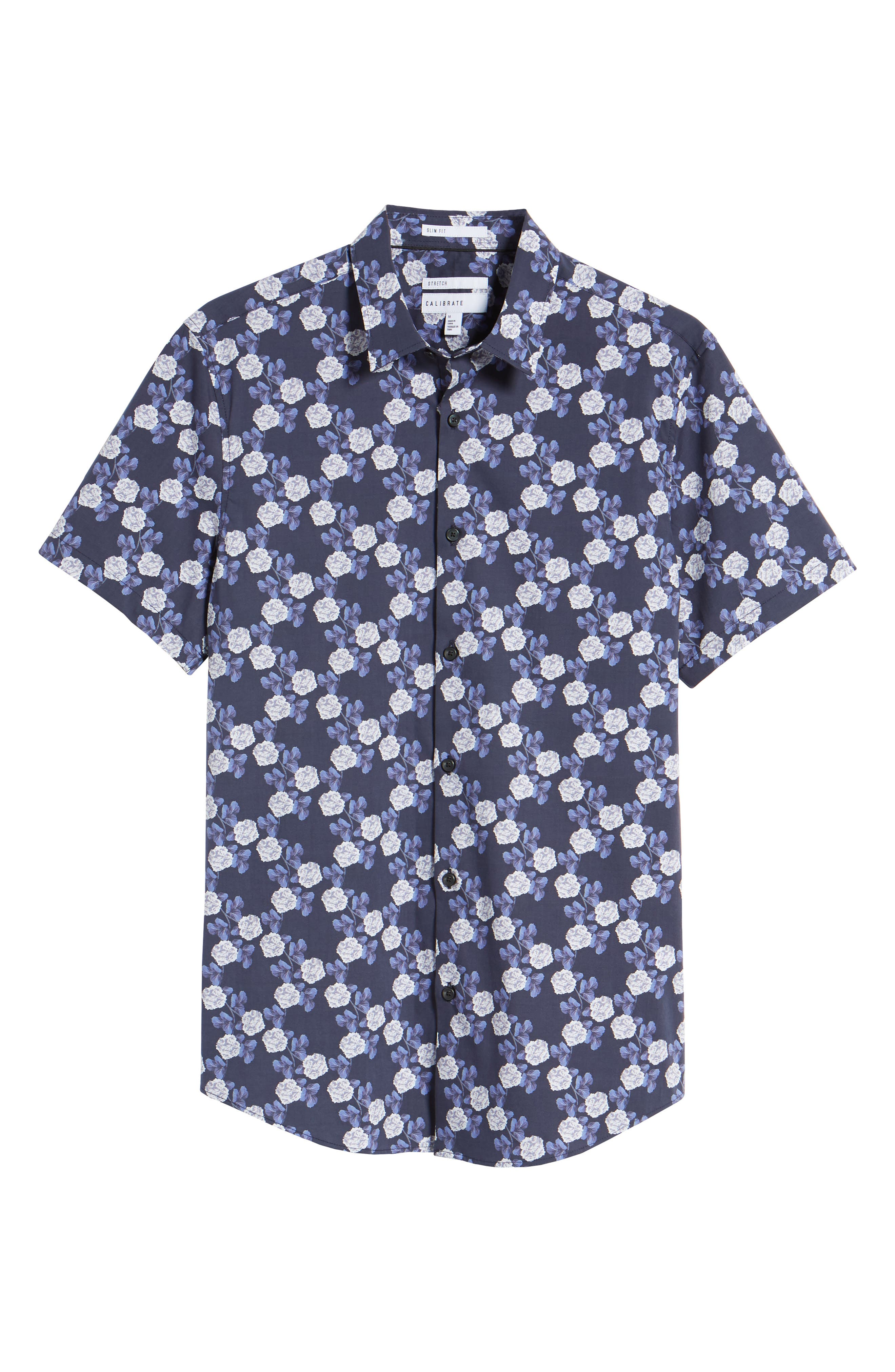 Trim Fit Short Sleeve Sport Shirt,                             Alternate thumbnail 6, color,                             Blue Flower Print