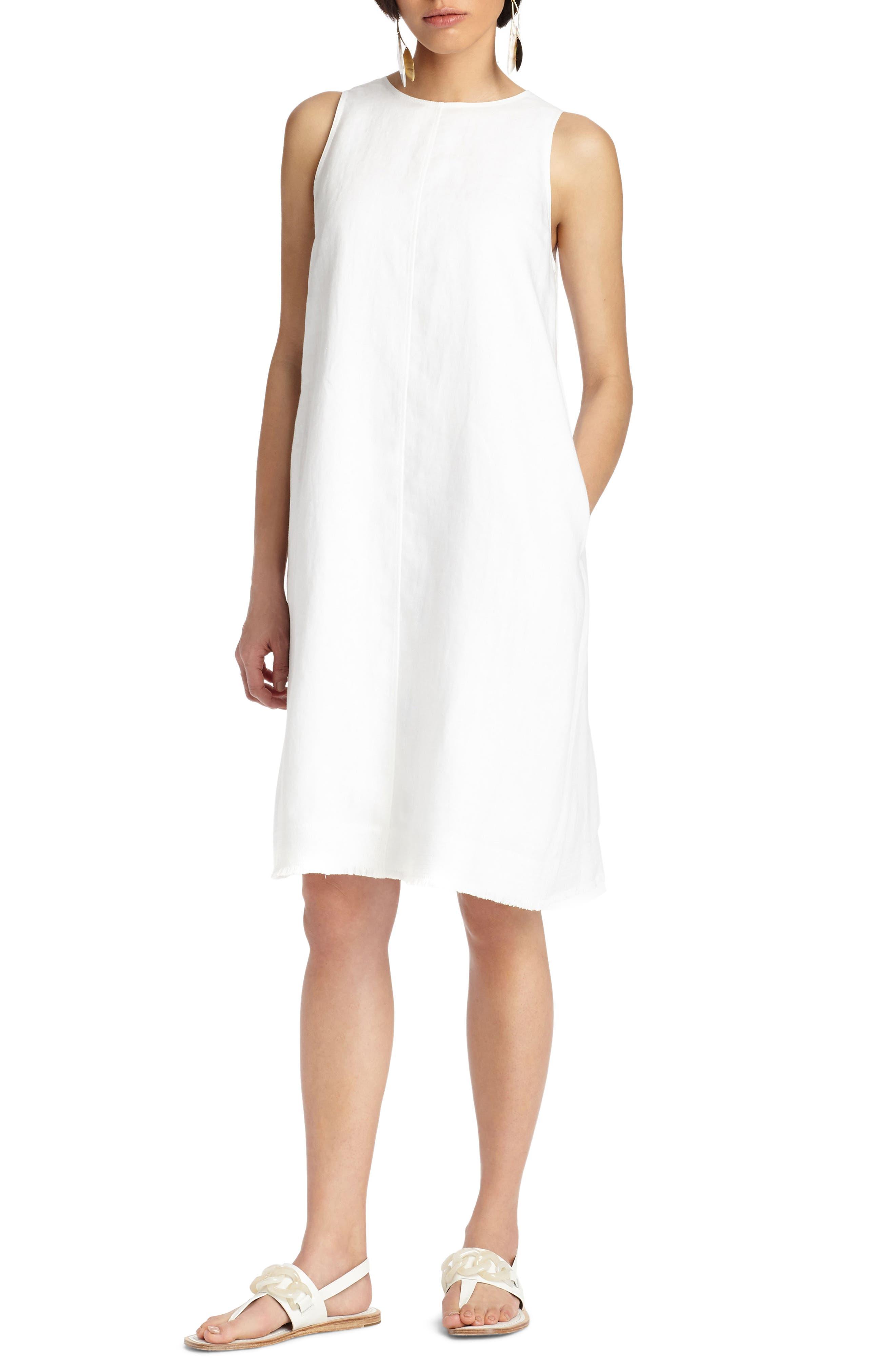 Hana Linen Dress,                             Main thumbnail 1, color,                             White