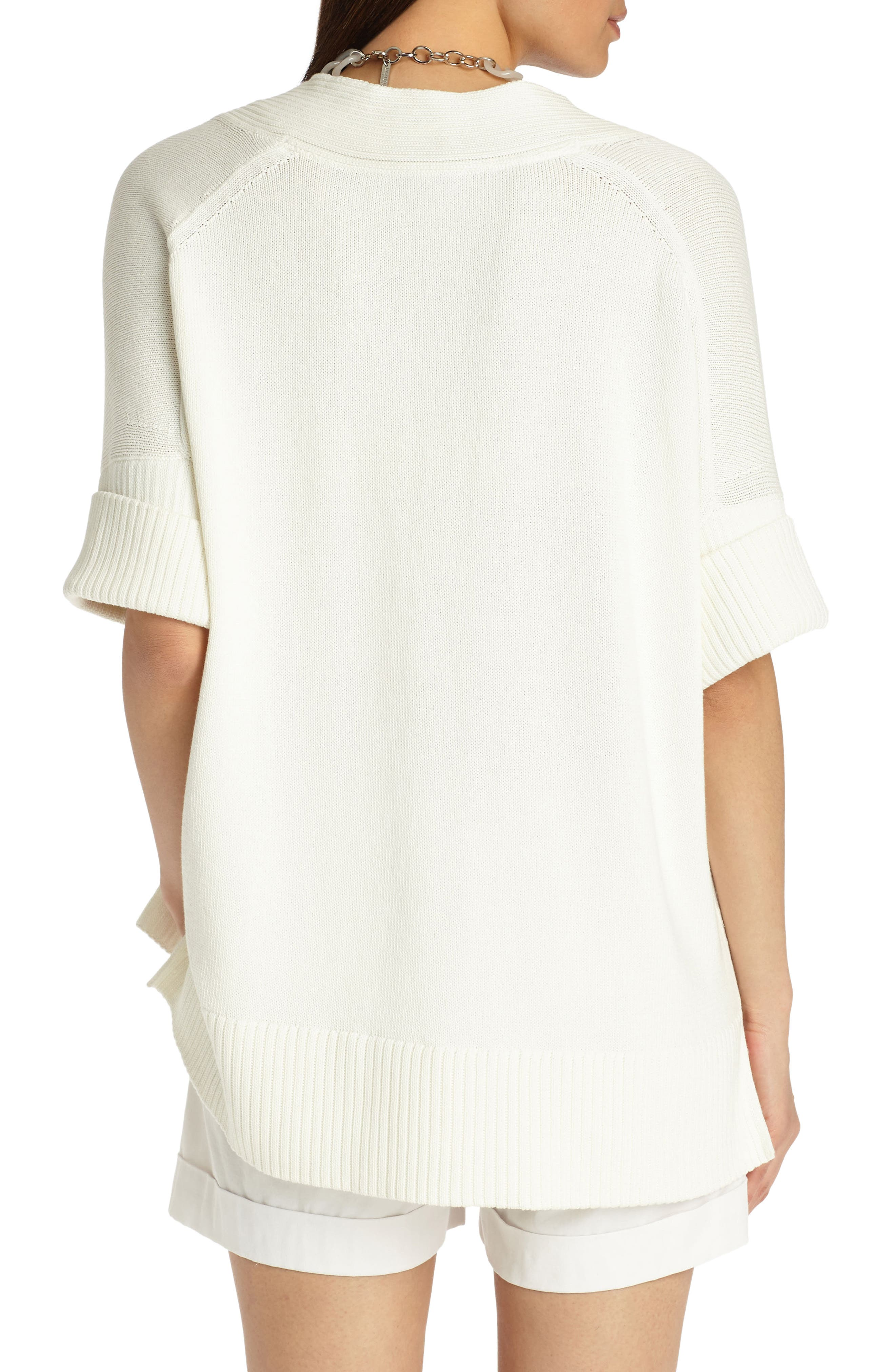 Relaxed V-Neck Cotton & Silk Sweater,                             Alternate thumbnail 2, color,                             Cloud