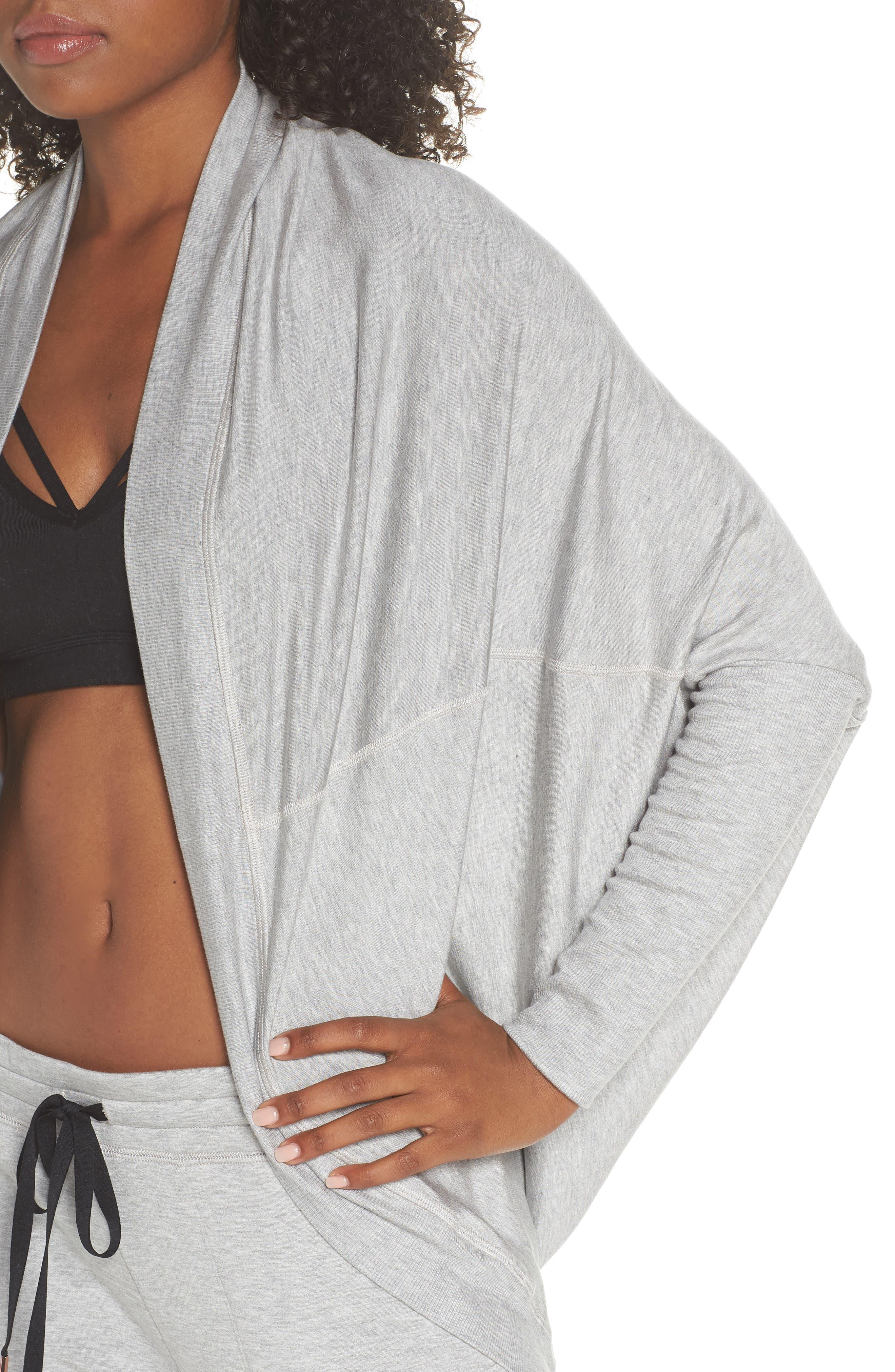 'Cozy' Convertible Fleece Pullover,                             Alternate thumbnail 6, color,                             Light Heather Gray
