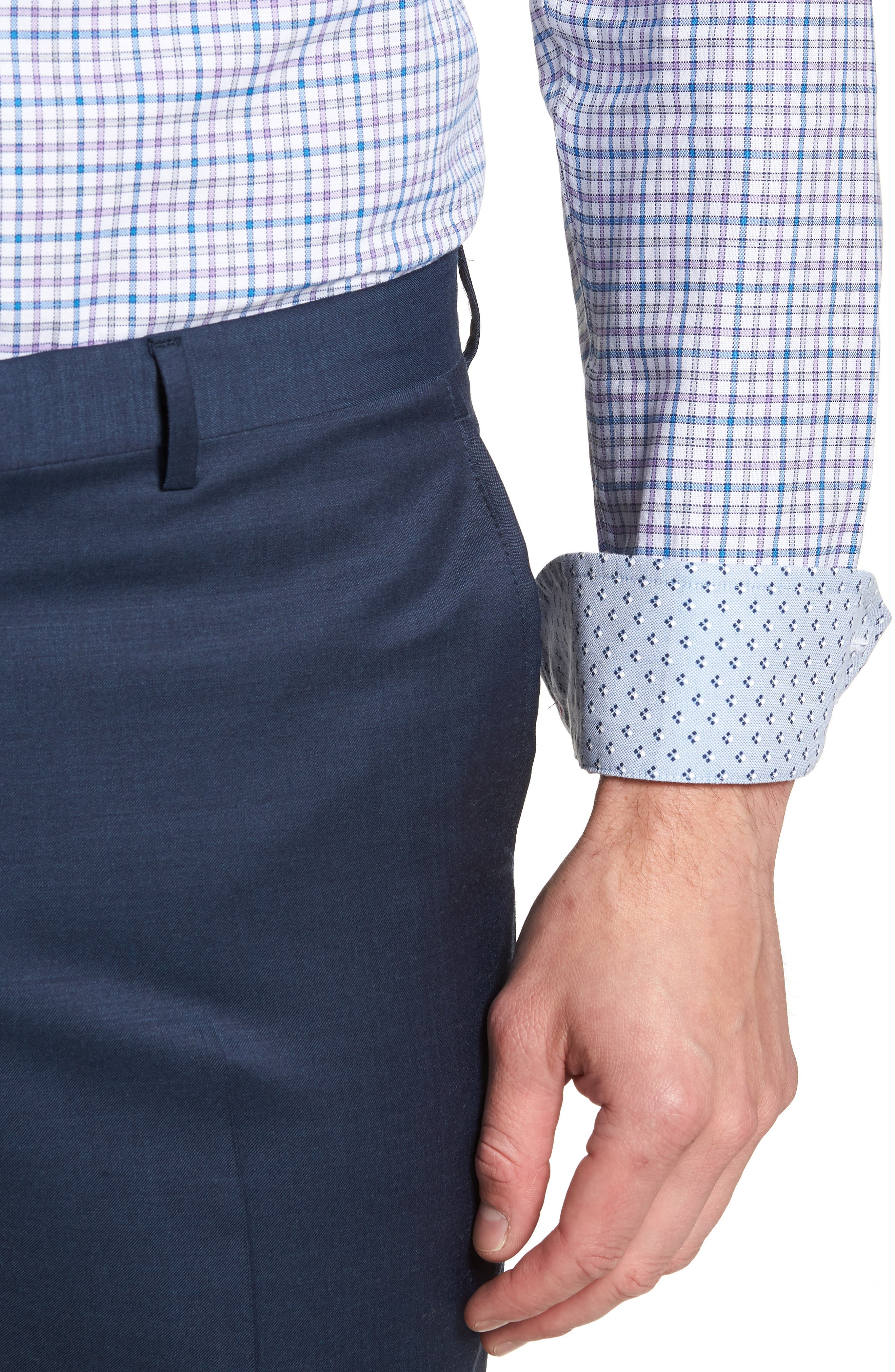Welsh Trim Fit Check Dress Shirt,                             Alternate thumbnail 2, color,                             Purple