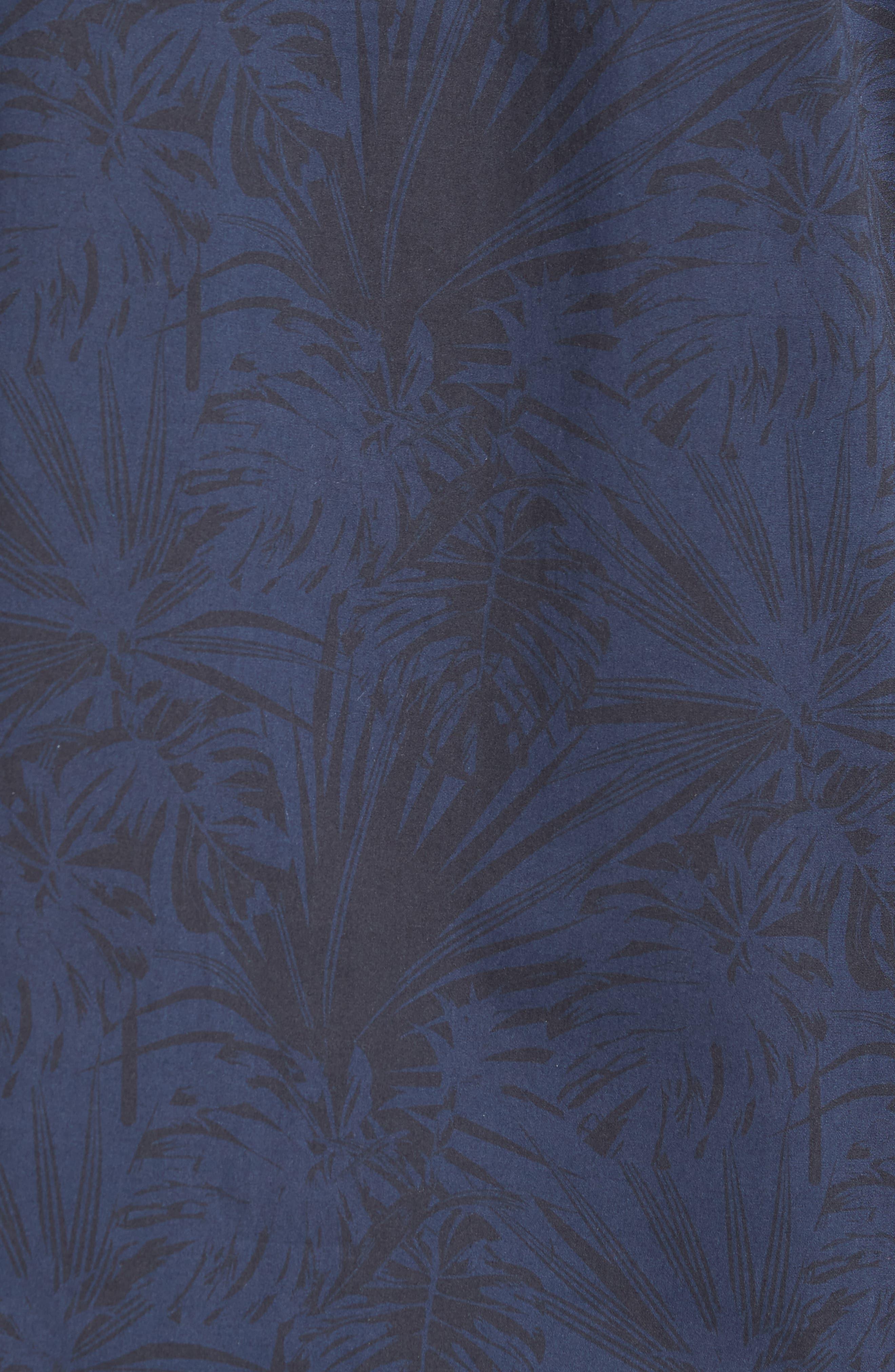 Trim Fit Stretch Print Sport Shirt,                             Alternate thumbnail 5, color,                             Black Navy Palm