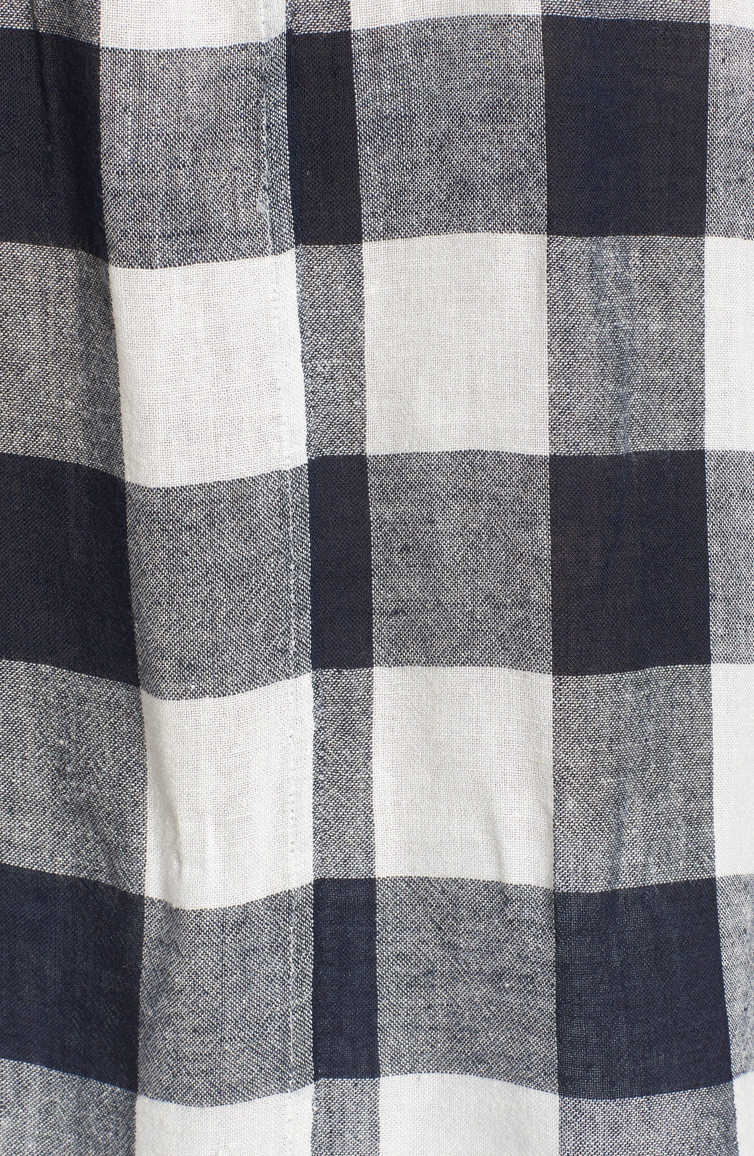 Thea Tie Waist Blouse,                             Alternate thumbnail 3, color,                             Azure Check