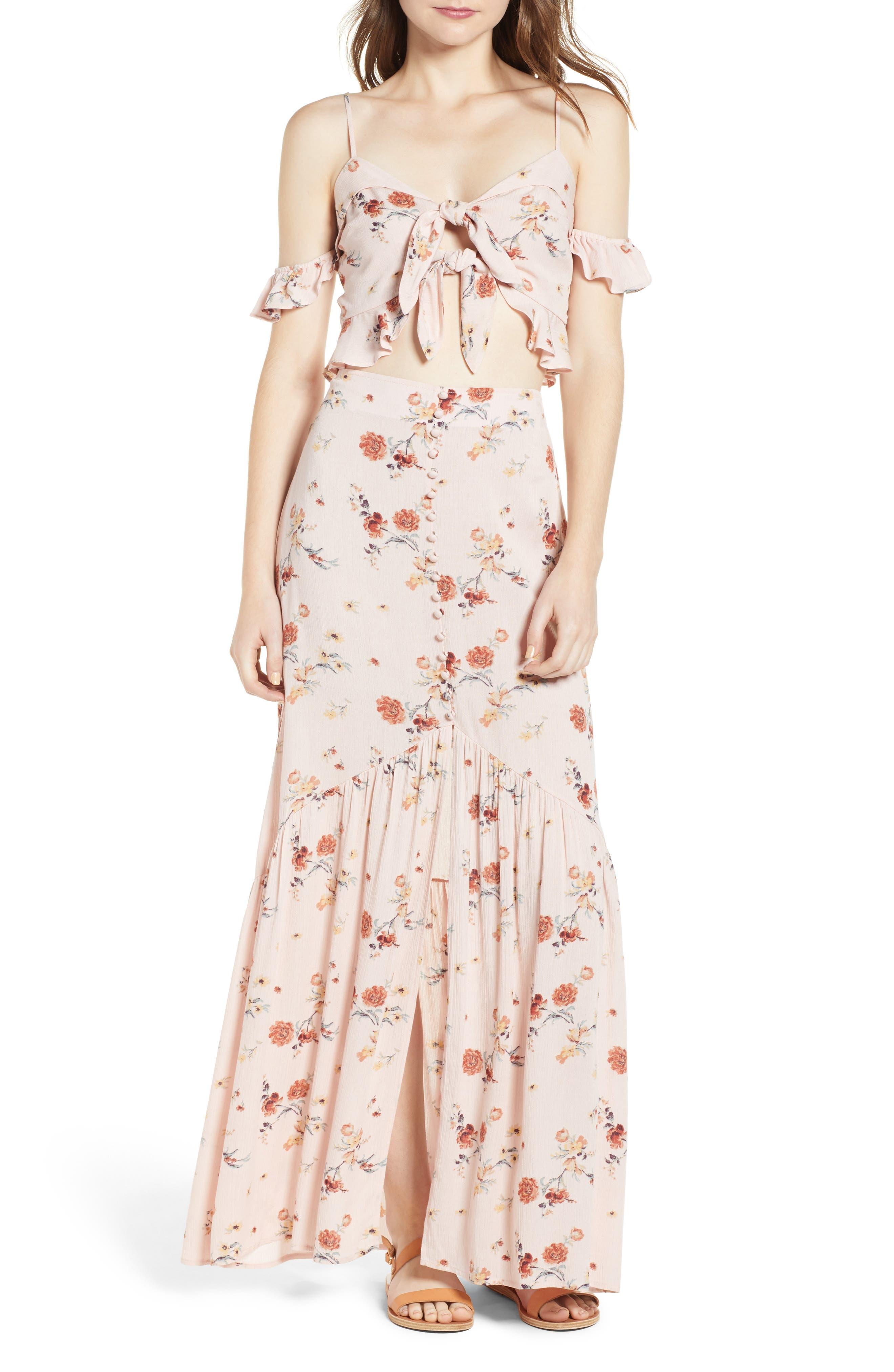 Rosa Floral Maxi Skirt,                             Alternate thumbnail 8, color,                             Pink Floral