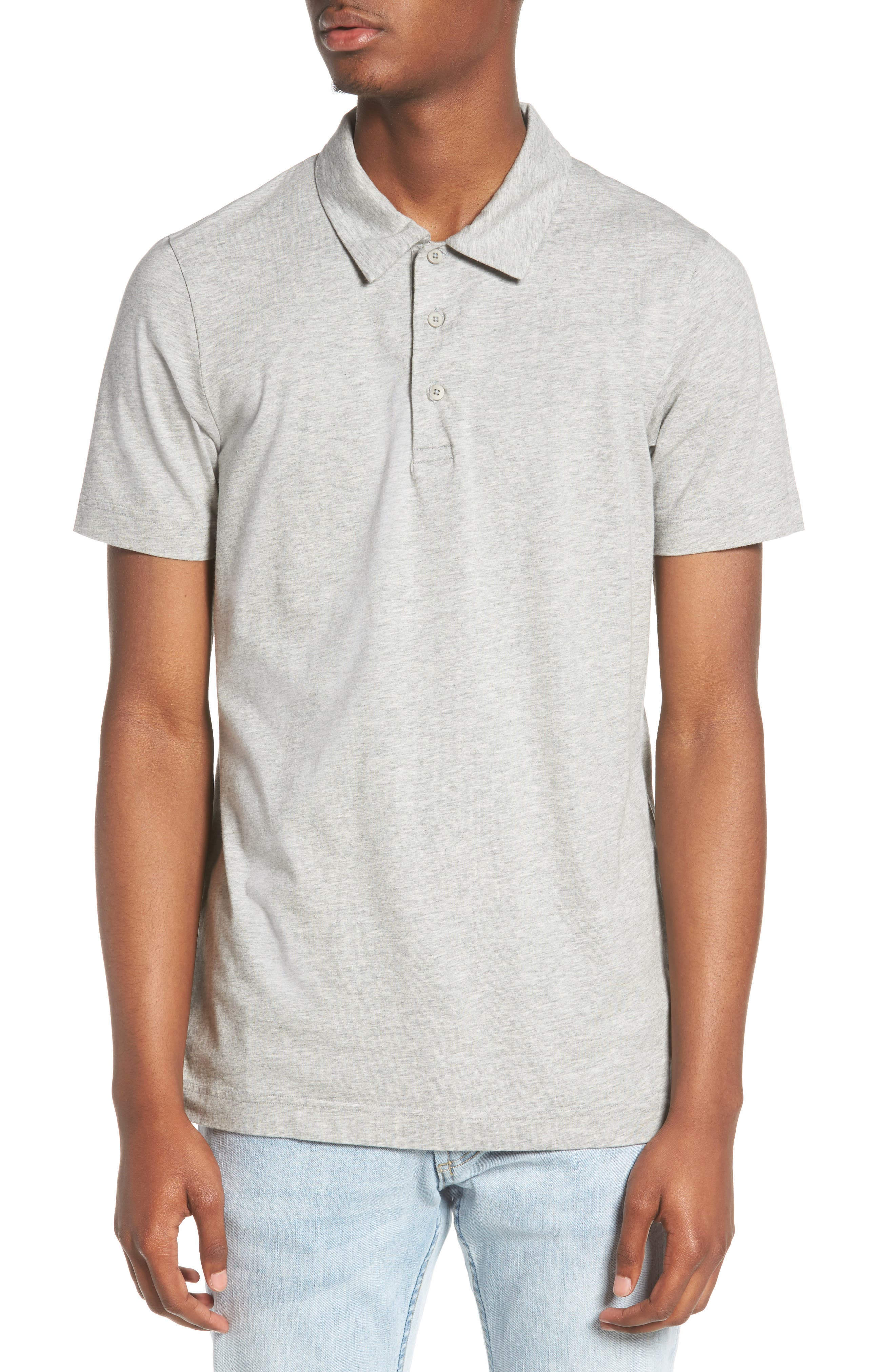 Short Sleeve Polo Shirt,                         Main,                         color, Heather Grey