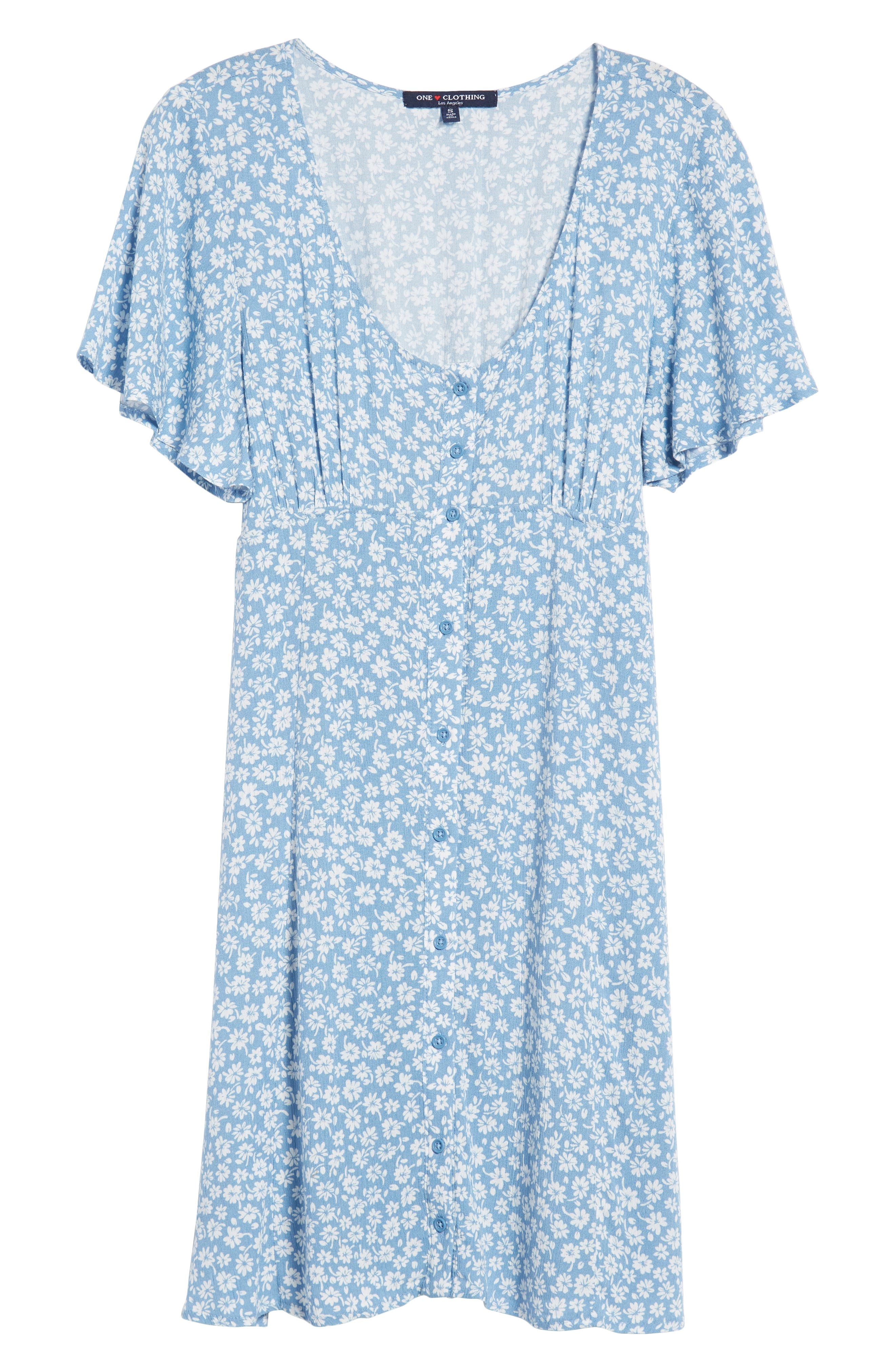 Floral Button Front Dress,                             Alternate thumbnail 7, color,                             Chambray