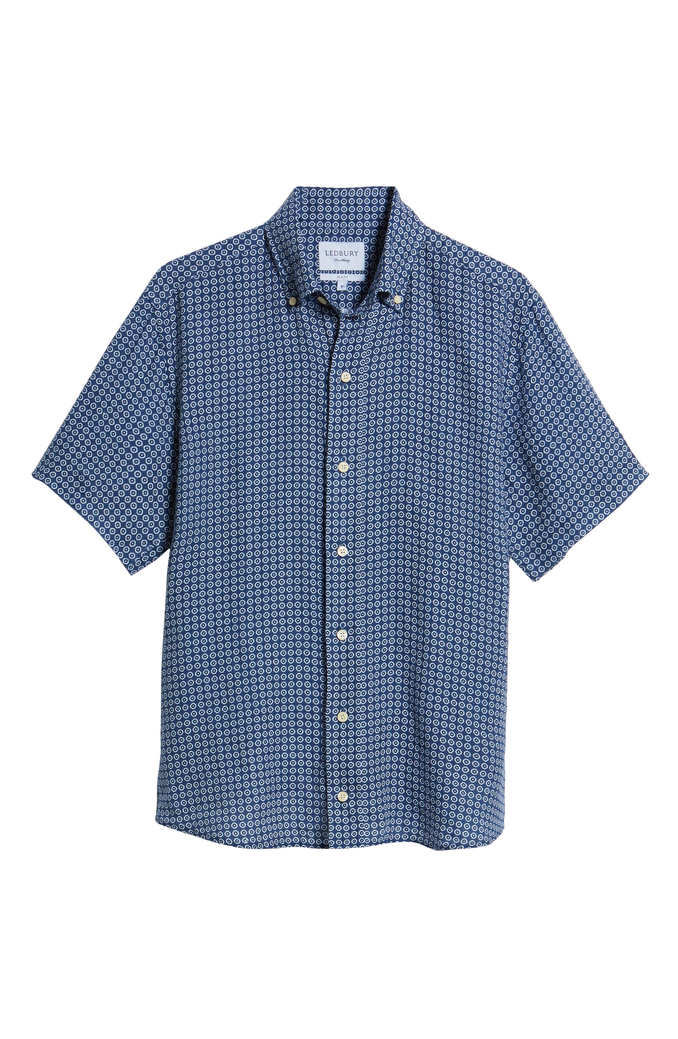 Windham Print Classic Fit Linen Sport Shirt,                             Alternate thumbnail 6, color,                             Navy