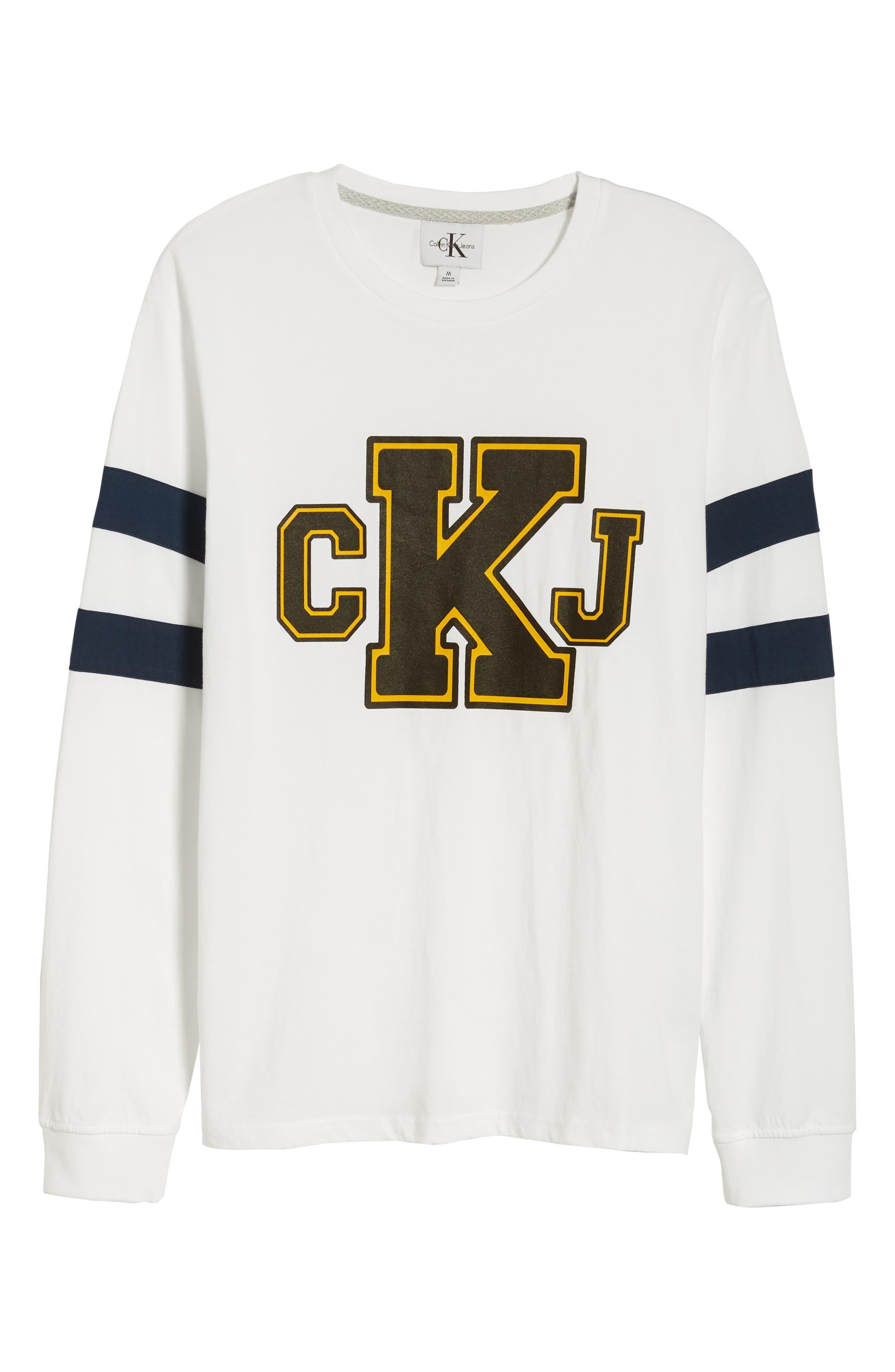 Stripe Sleeve Logo T-Shirt,                             Alternate thumbnail 6, color,                             Standard White
