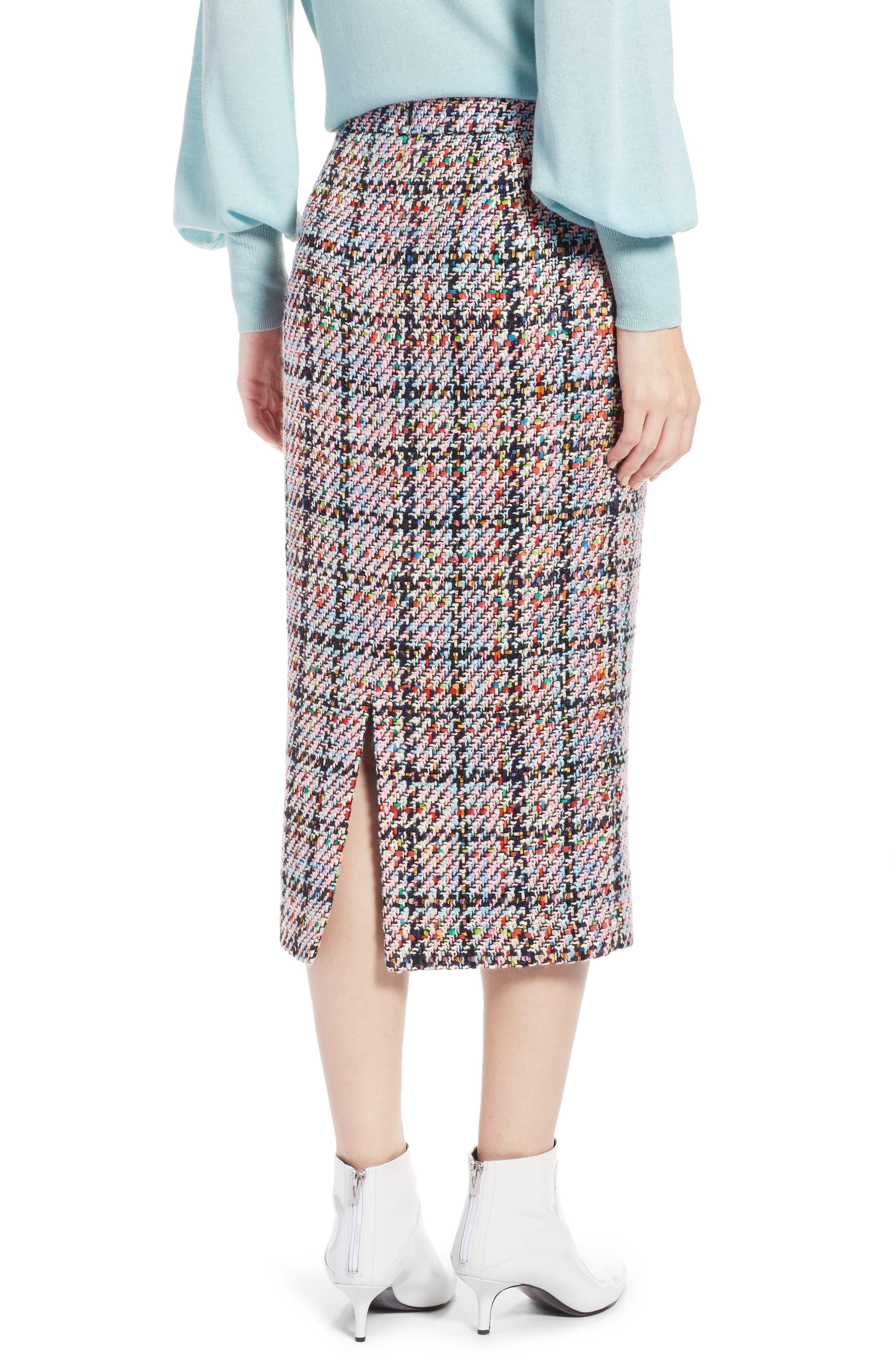 Tweed Midi Skirt,                             Alternate thumbnail 2, color,                             Pink Multi Tweed