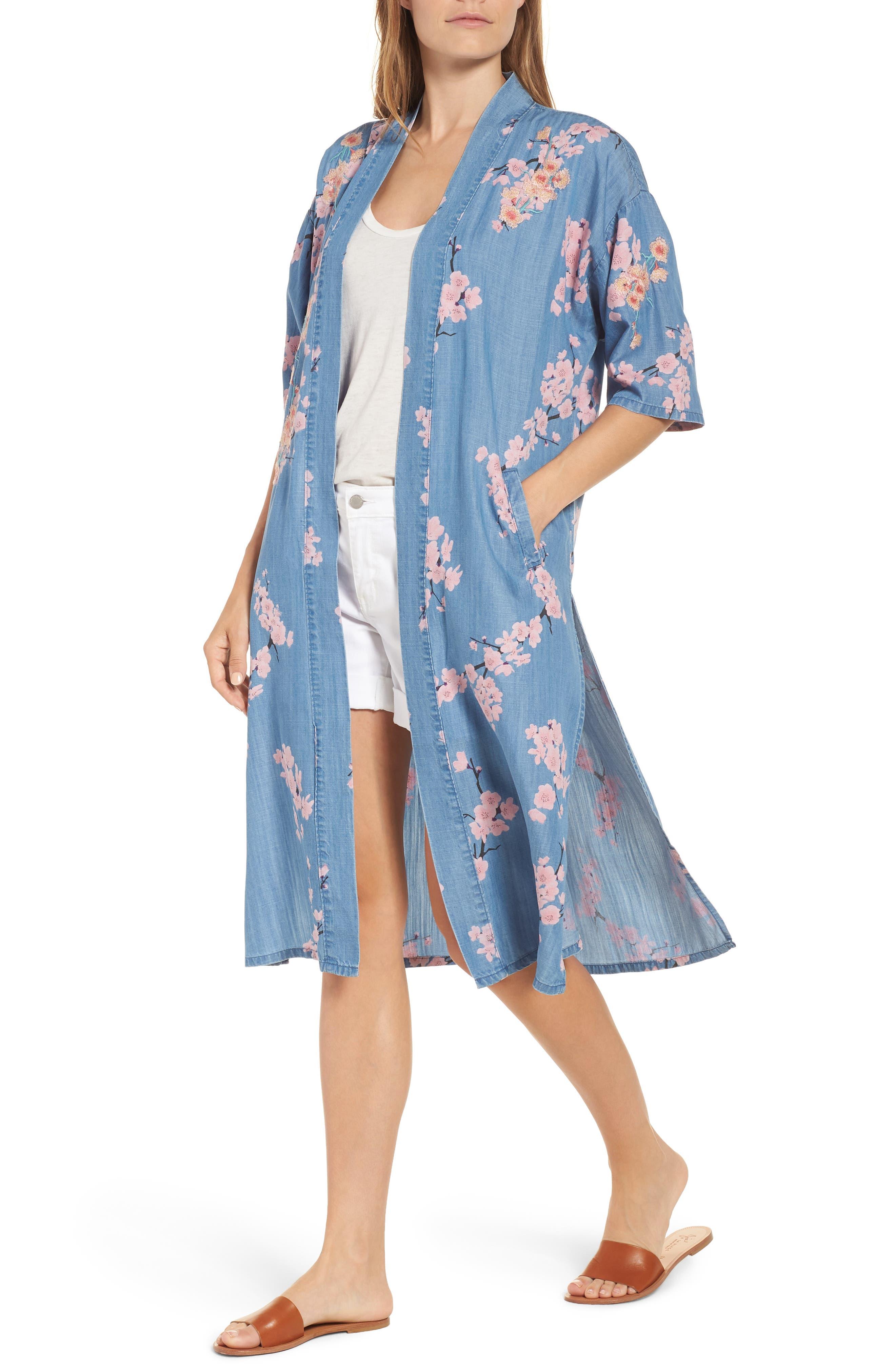 Cherry Blossom Kimono,                             Alternate thumbnail 6, color,                             Blue Cherry Blossom