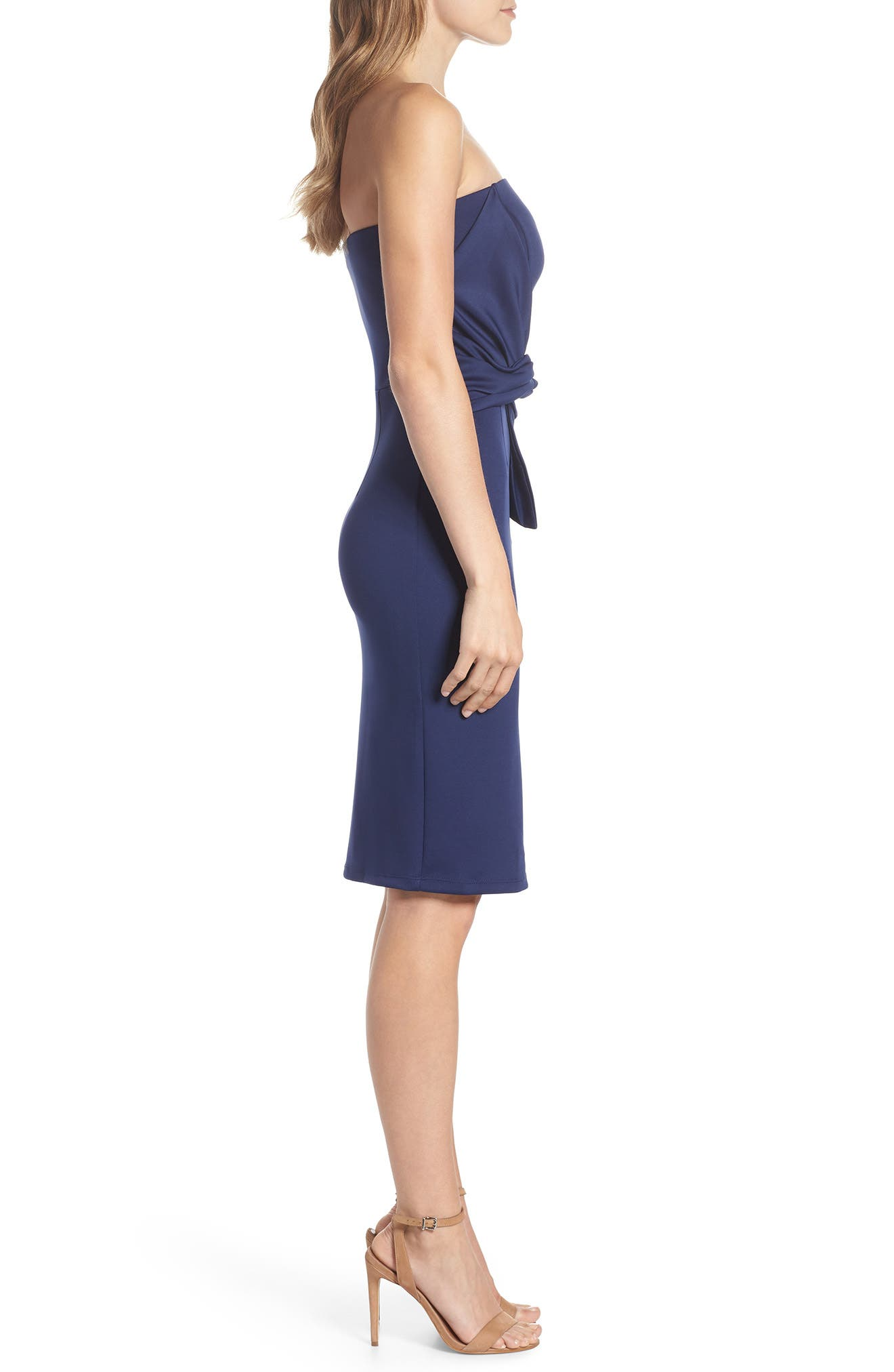 Strapless Tie Front Sheath Dress,                             Alternate thumbnail 3, color,                             Navy
