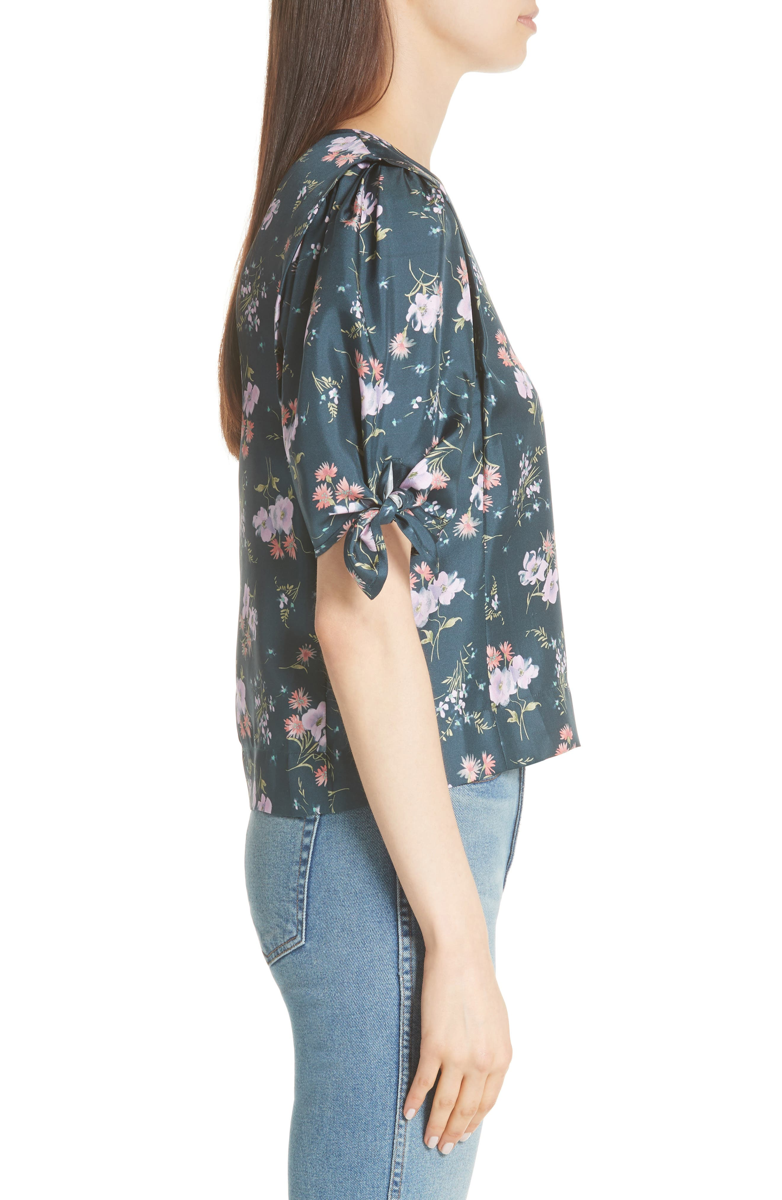 Emilia Tie Sleeve Floral Top,                             Alternate thumbnail 5, color,                             Teal Combo