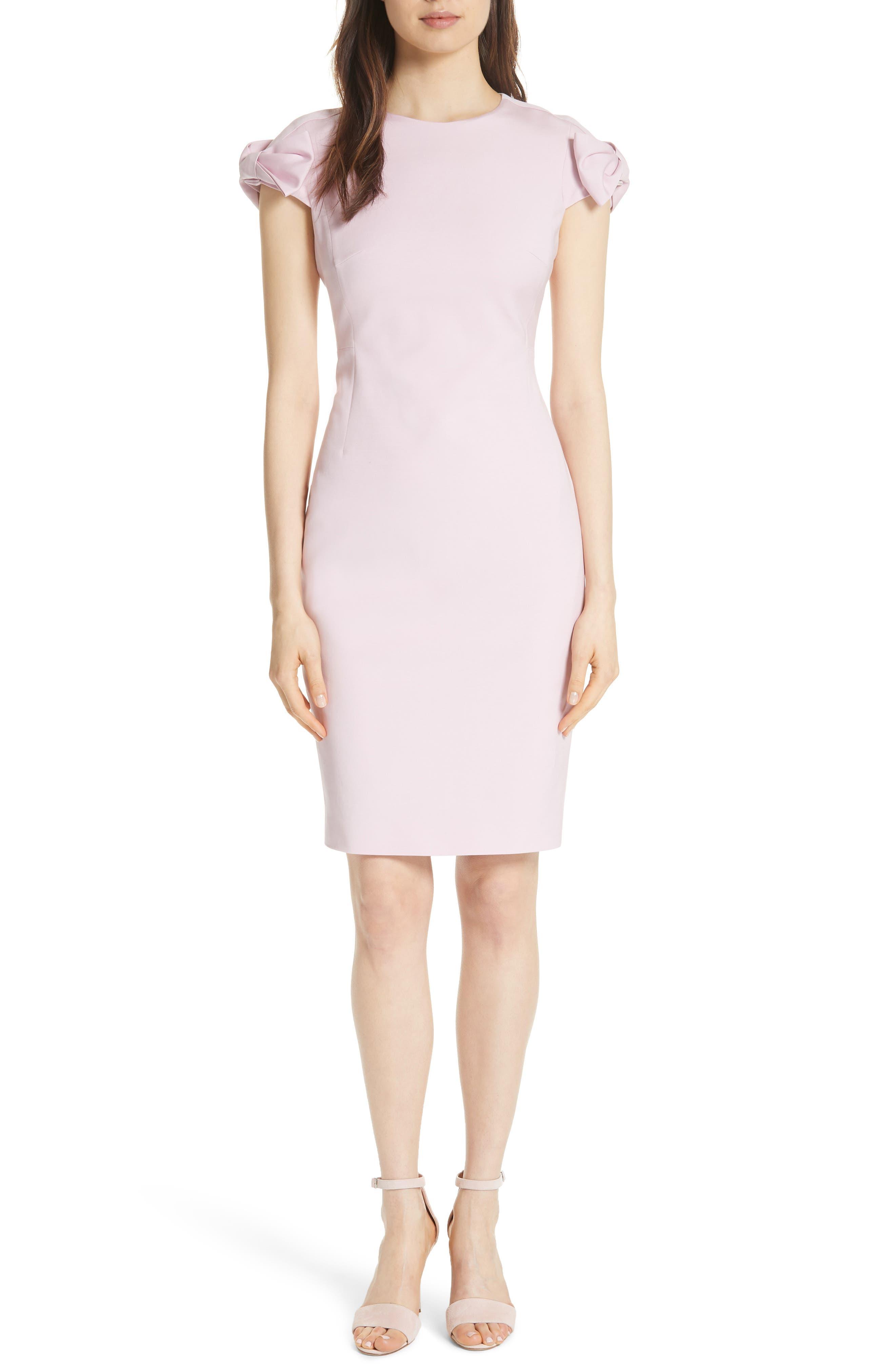 Bow Shoulder Pencil Dress,                             Main thumbnail 1, color,                             Lilac