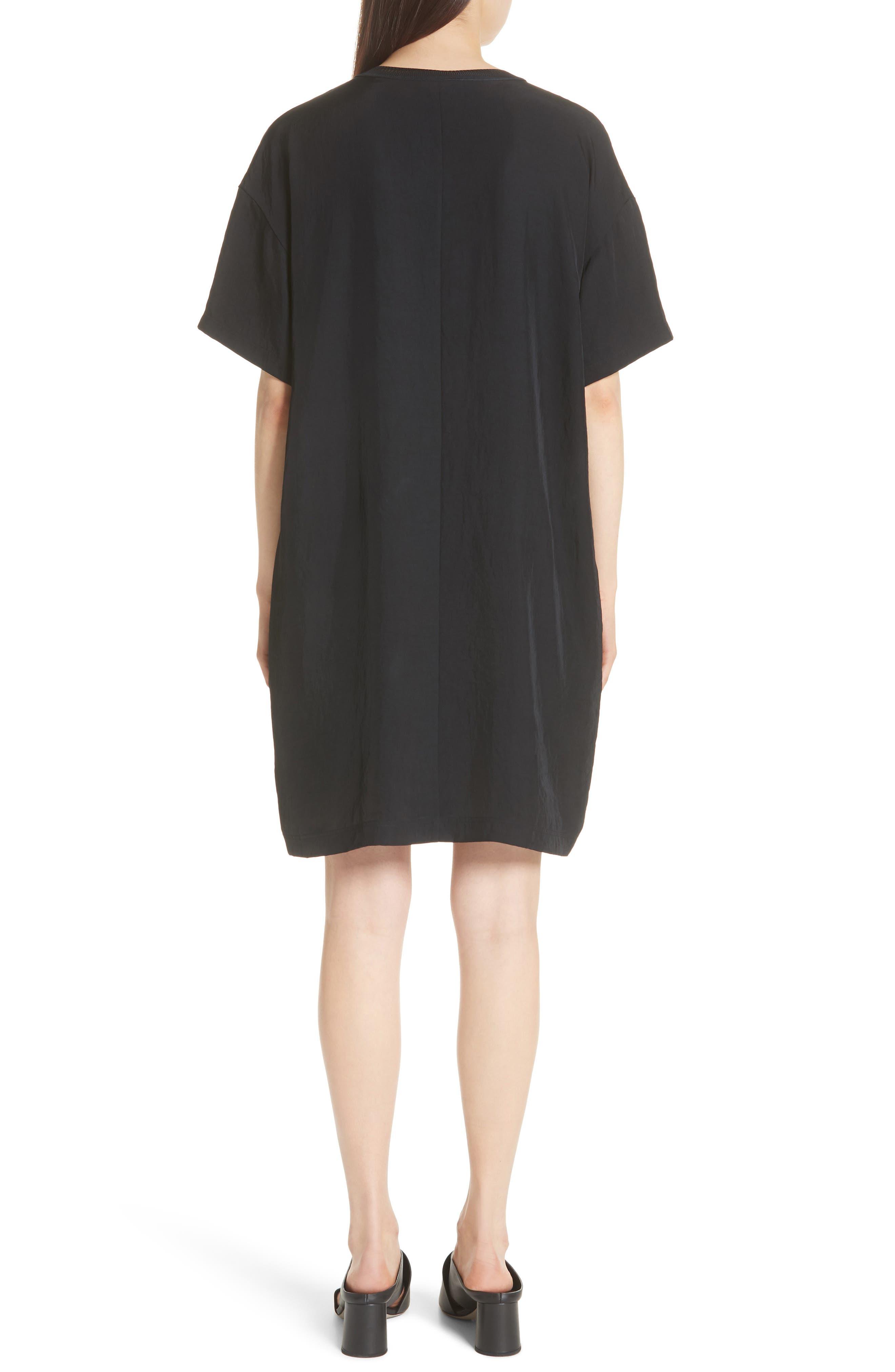 Rib Trim Dress,                             Alternate thumbnail 2, color,                             Black