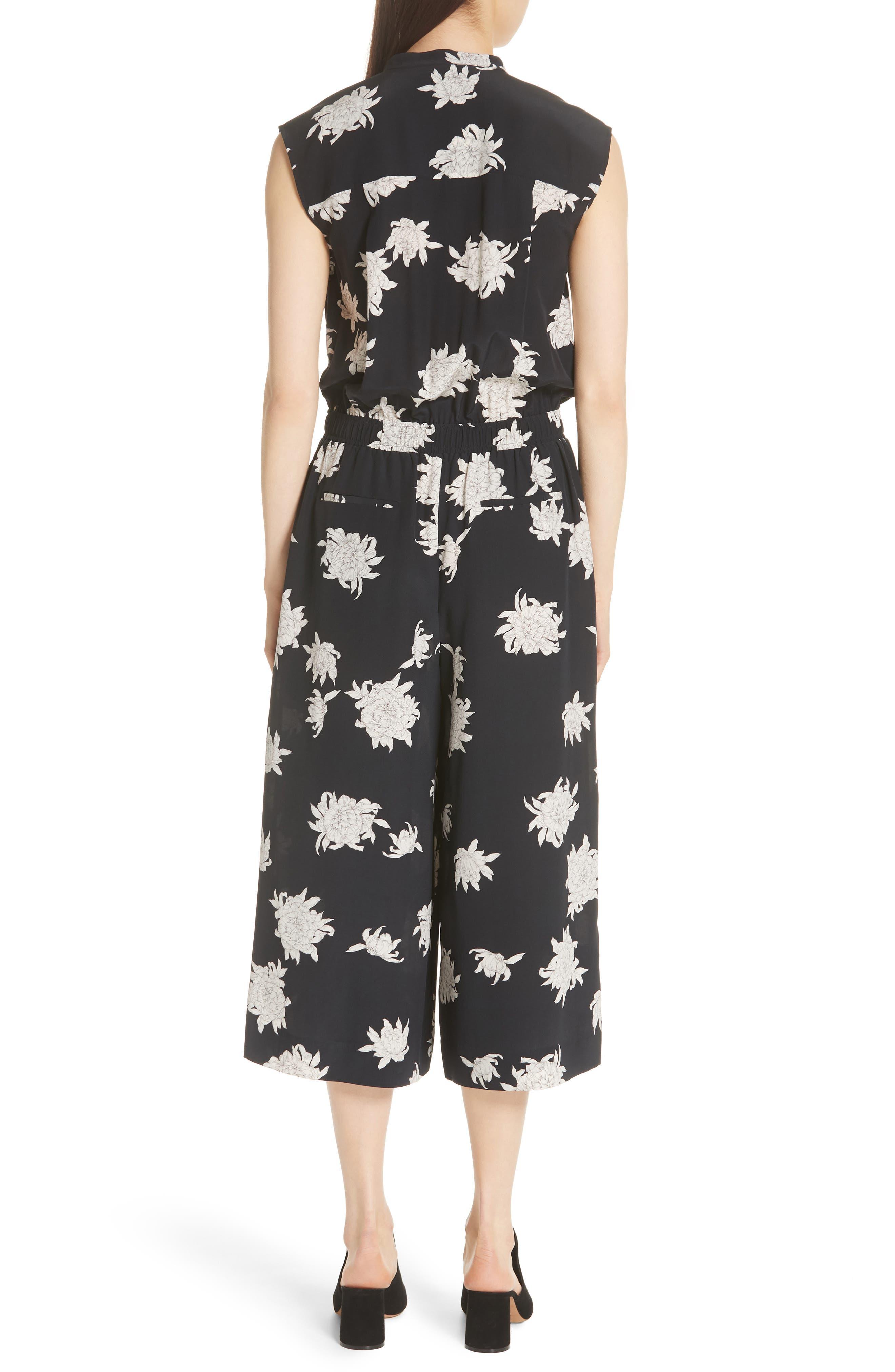 Chrysanthemum Print Silk Jumpsuit,                             Alternate thumbnail 2, color,                             Coastal
