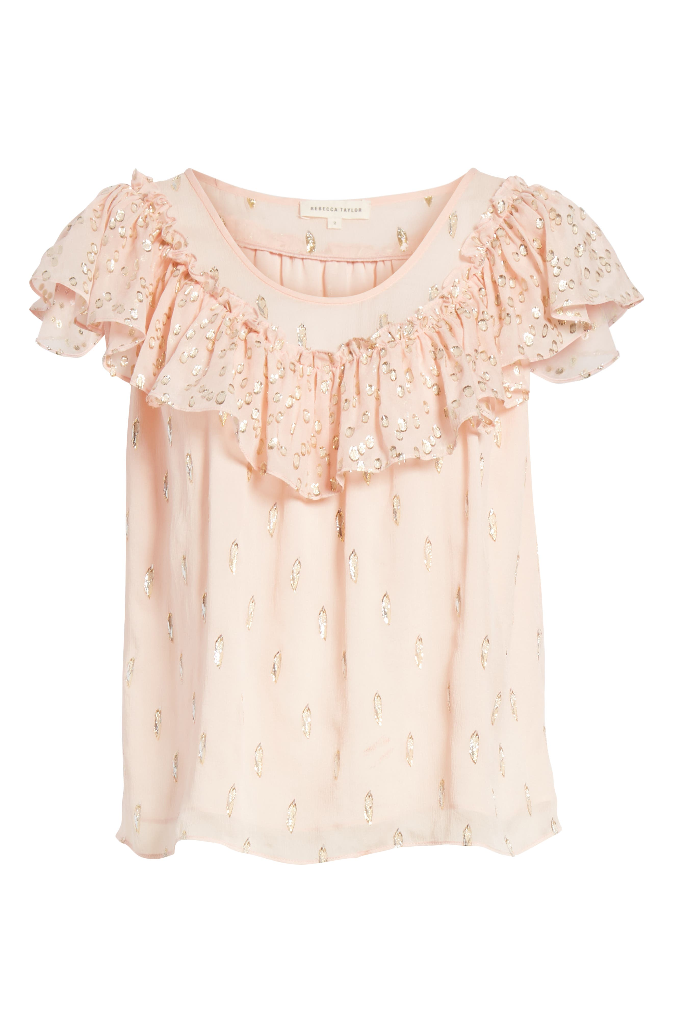 Metallic Fille Coupé Ruffle Silk Top,                             Alternate thumbnail 6, color,                             Powder Pink