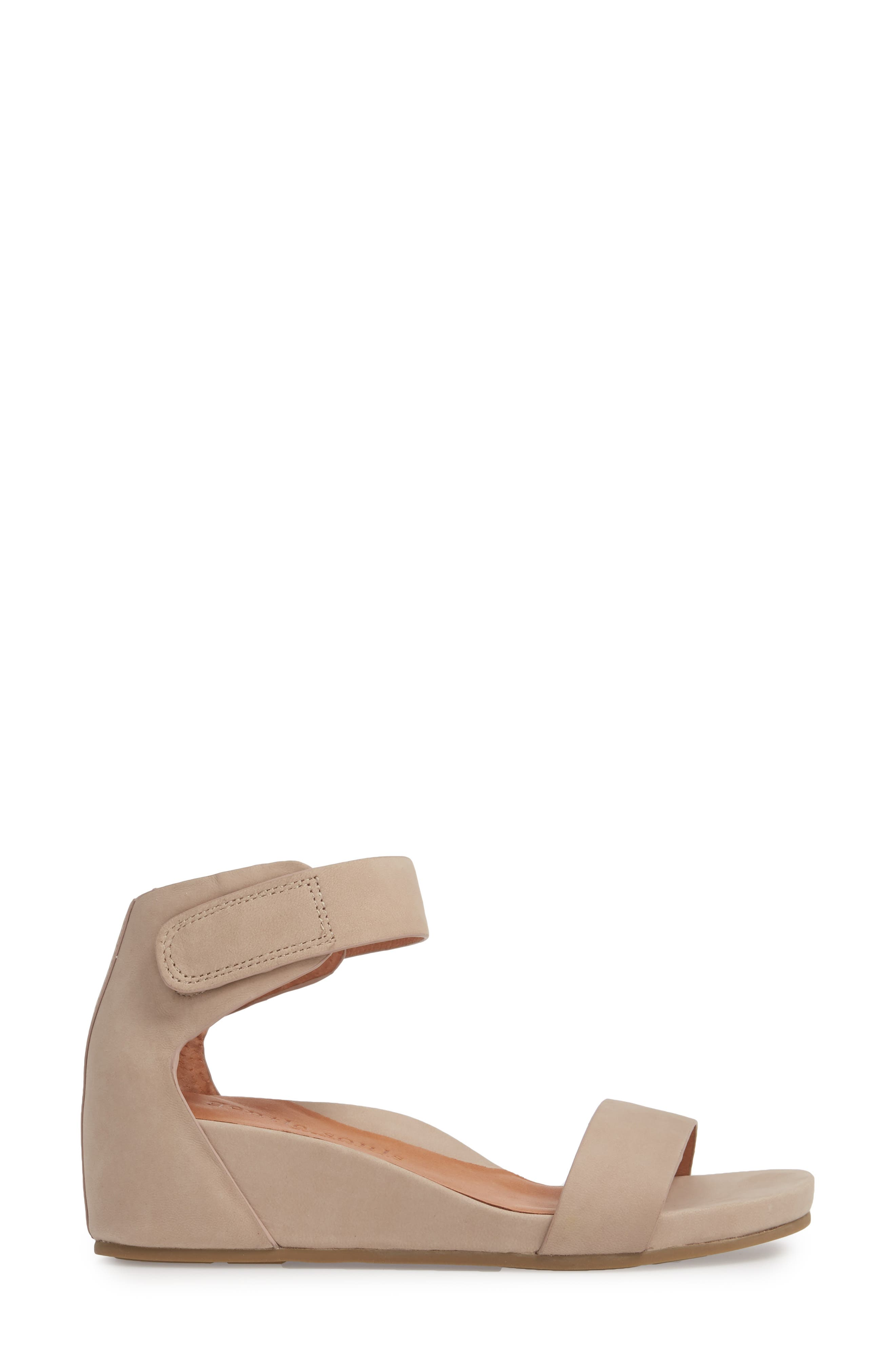 by Kenneth Cole Gianna Wedge Sandal,                             Alternate thumbnail 3, color,                             Mushroom Nubuck