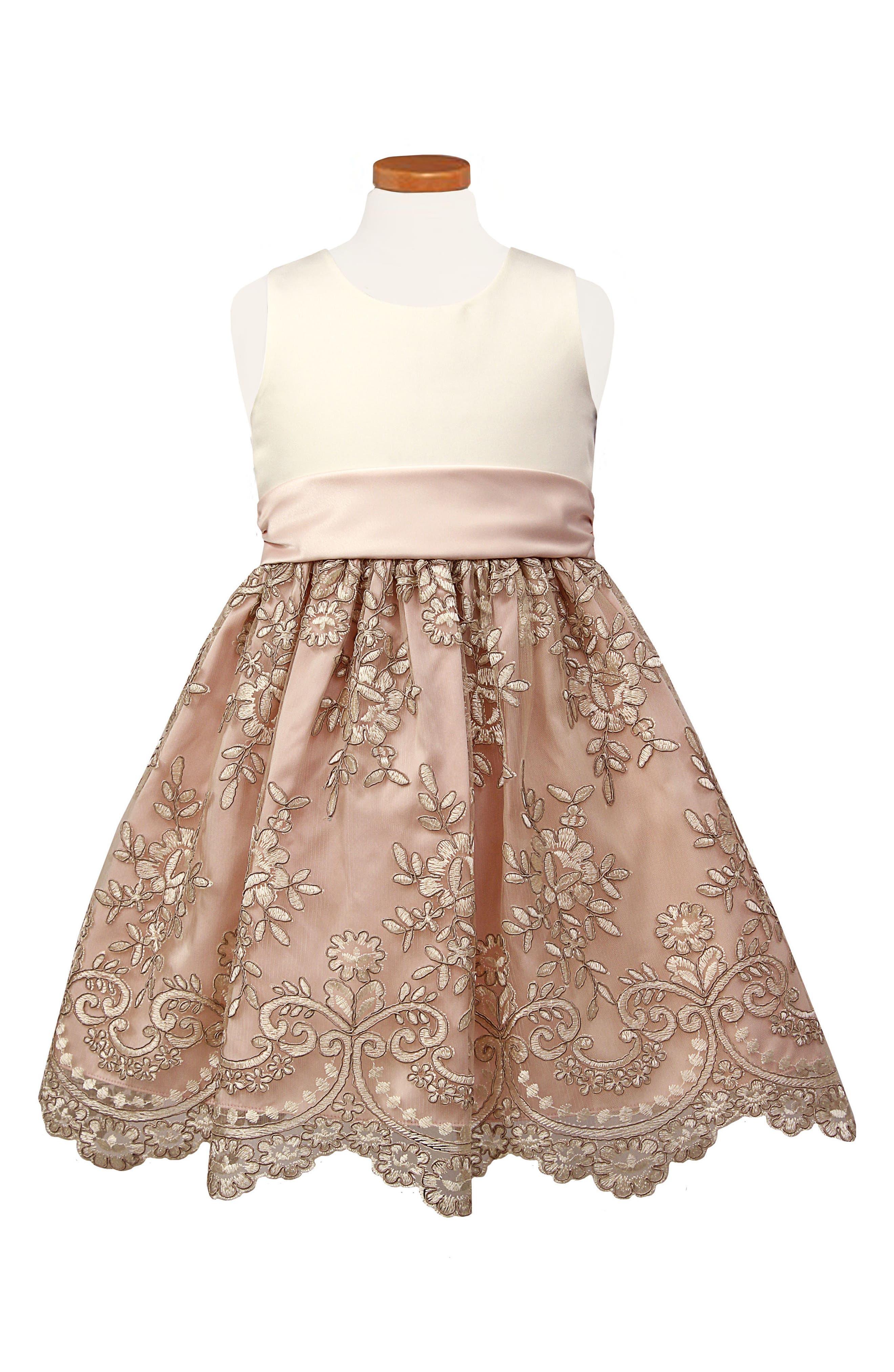 Sorbet Floral Embroidered Fit & Flare Dress (Toddler Girls, Little Girls & Big Girls)