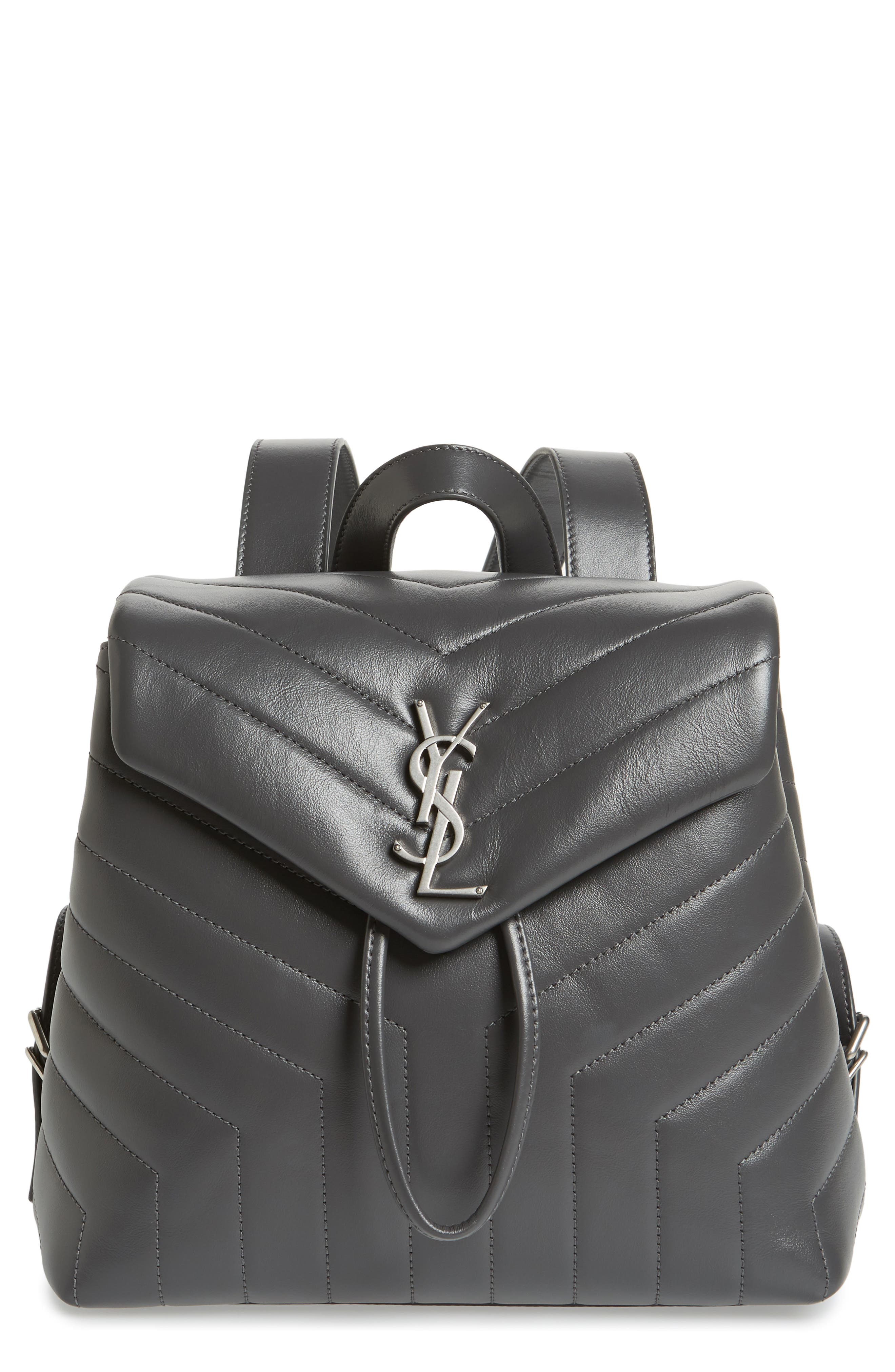 Small Loulou Quilted Calfskin Leather Backpack,                         Main,                         color, Storm/ Storm