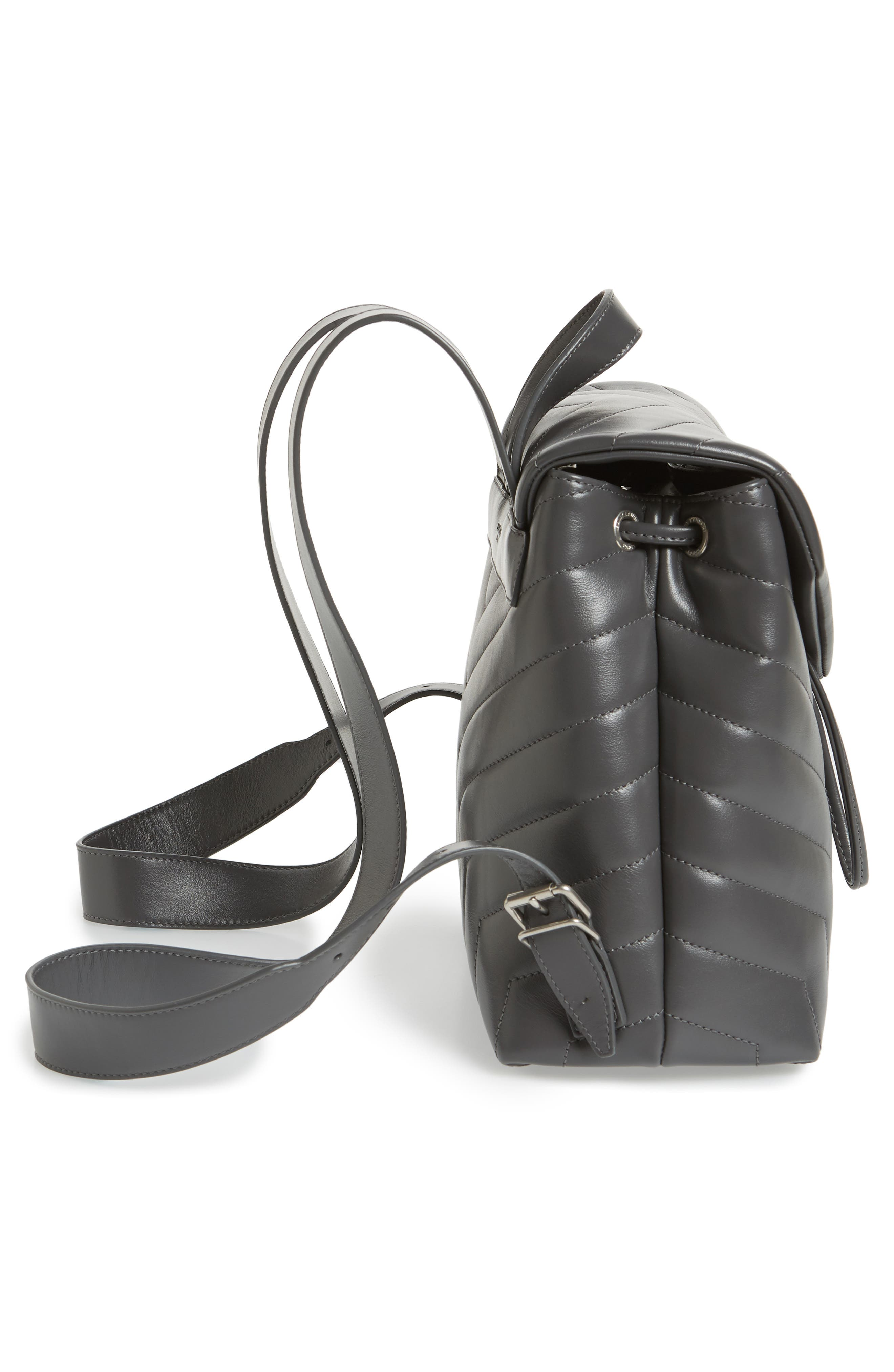 Small Loulou Quilted Calfskin Leather Backpack,                             Alternate thumbnail 5, color,                             Storm/ Storm