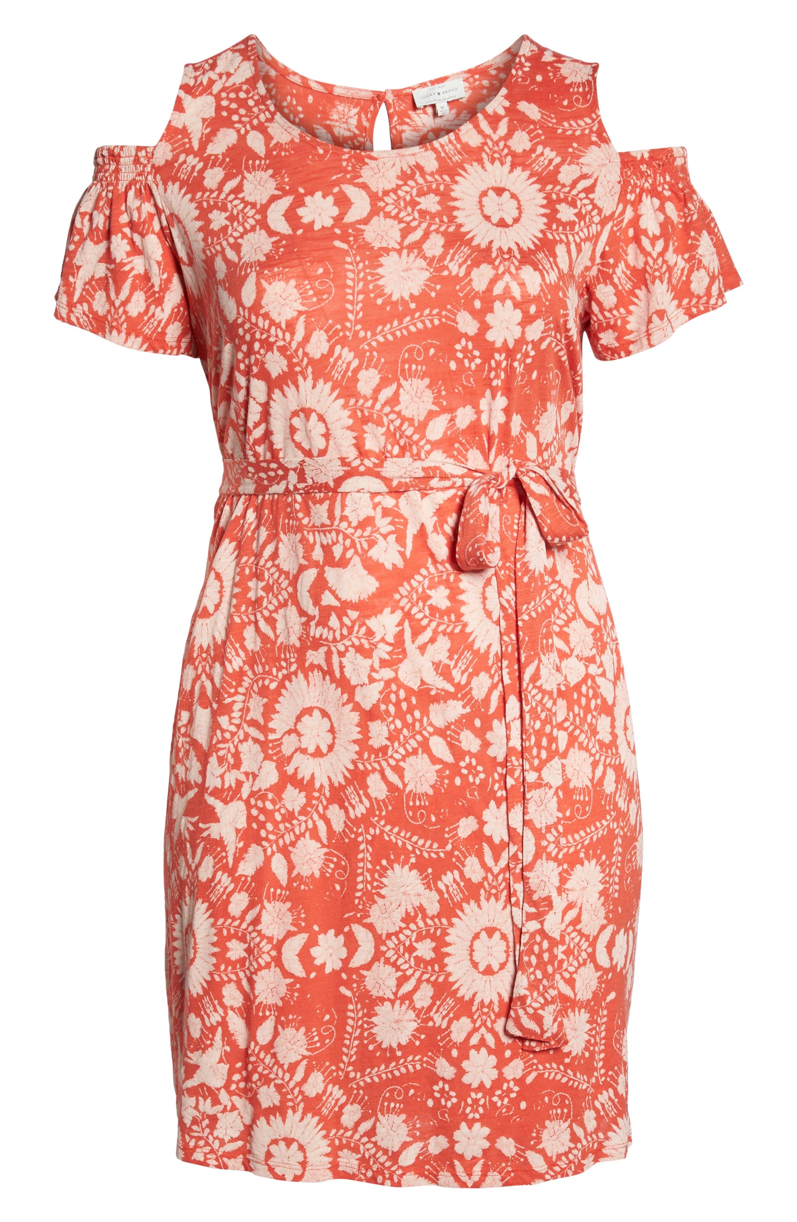 Cold Shoulder Print Belted Dress,                             Alternate thumbnail 7, color,                             Rust Multi