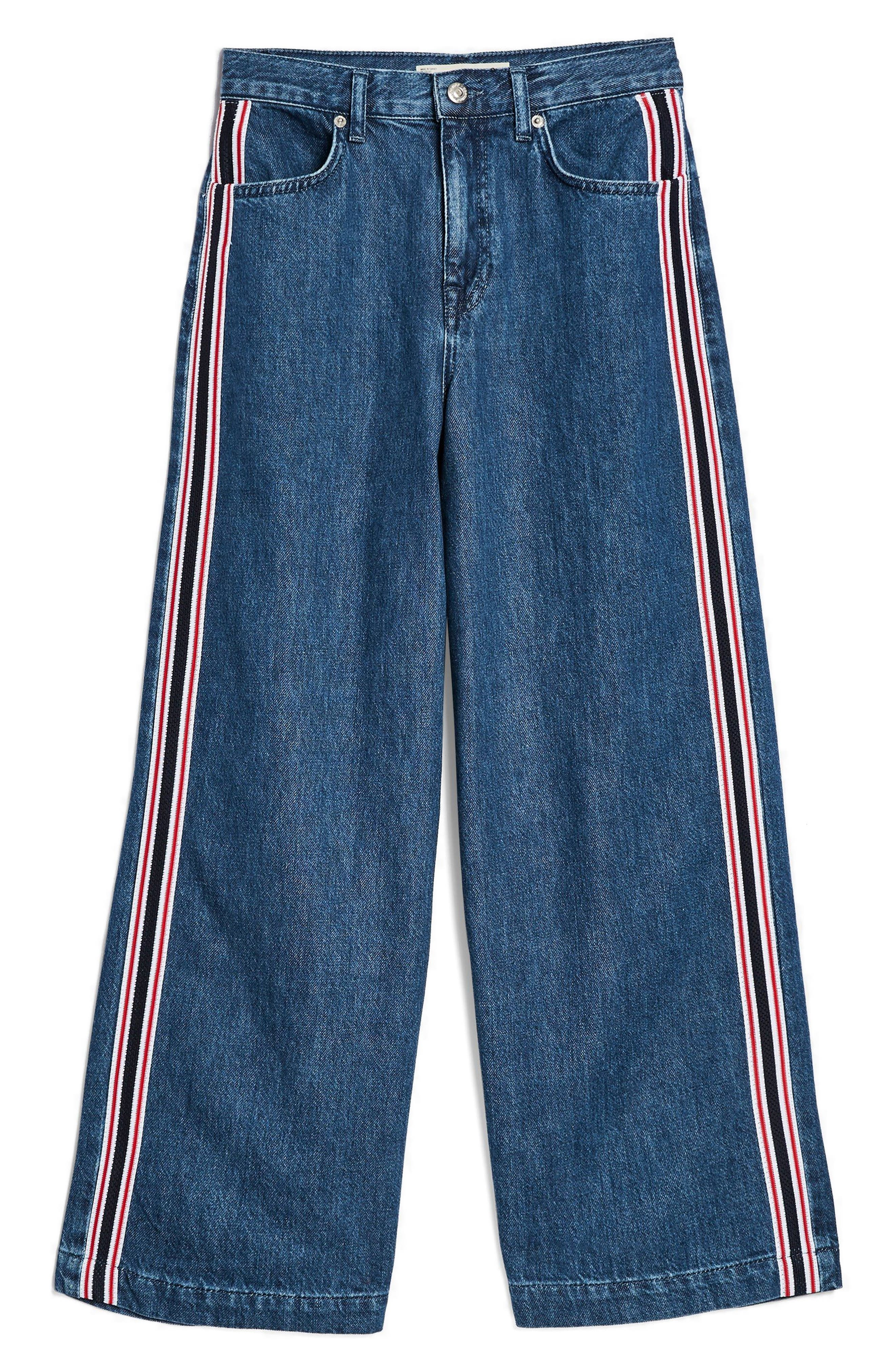 MOTO Stripe Wide Leg Non-Stretch Jeans,                             Alternate thumbnail 3, color,                             Blue Multi