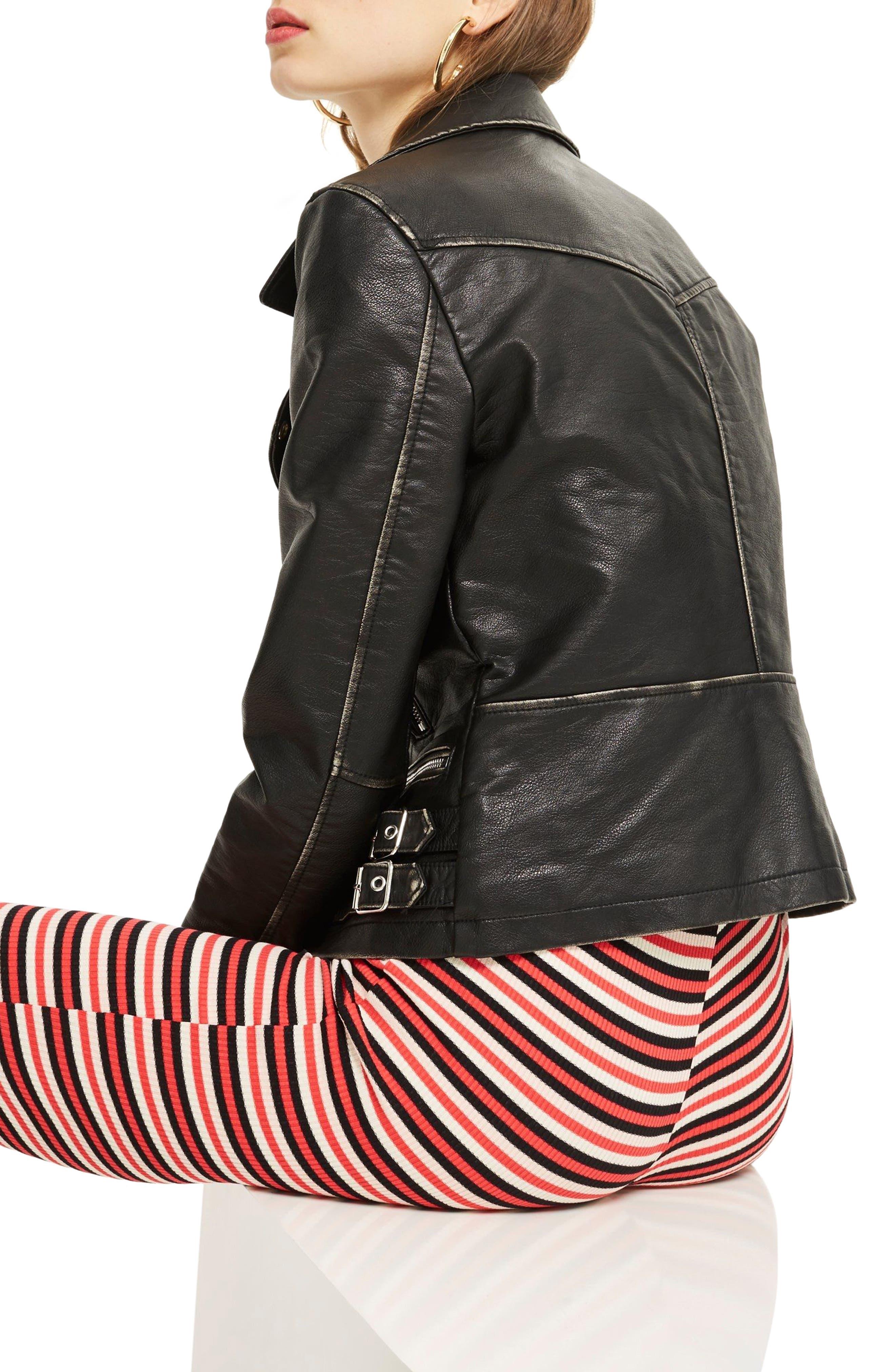 Ellie Washed Biker Jacket,                             Alternate thumbnail 2, color,                             Black