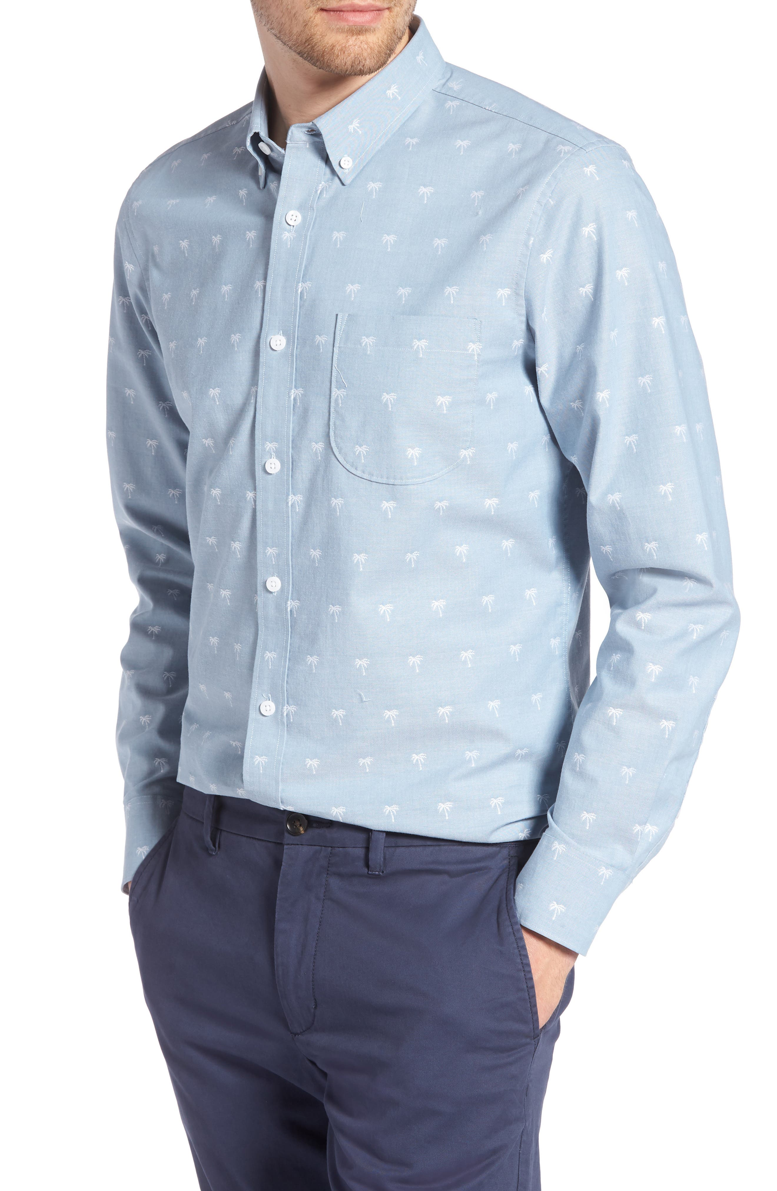 Trim Fit Print Chambray Sport Shirt,                         Main,                         color, Blue Chambray Palm Trees