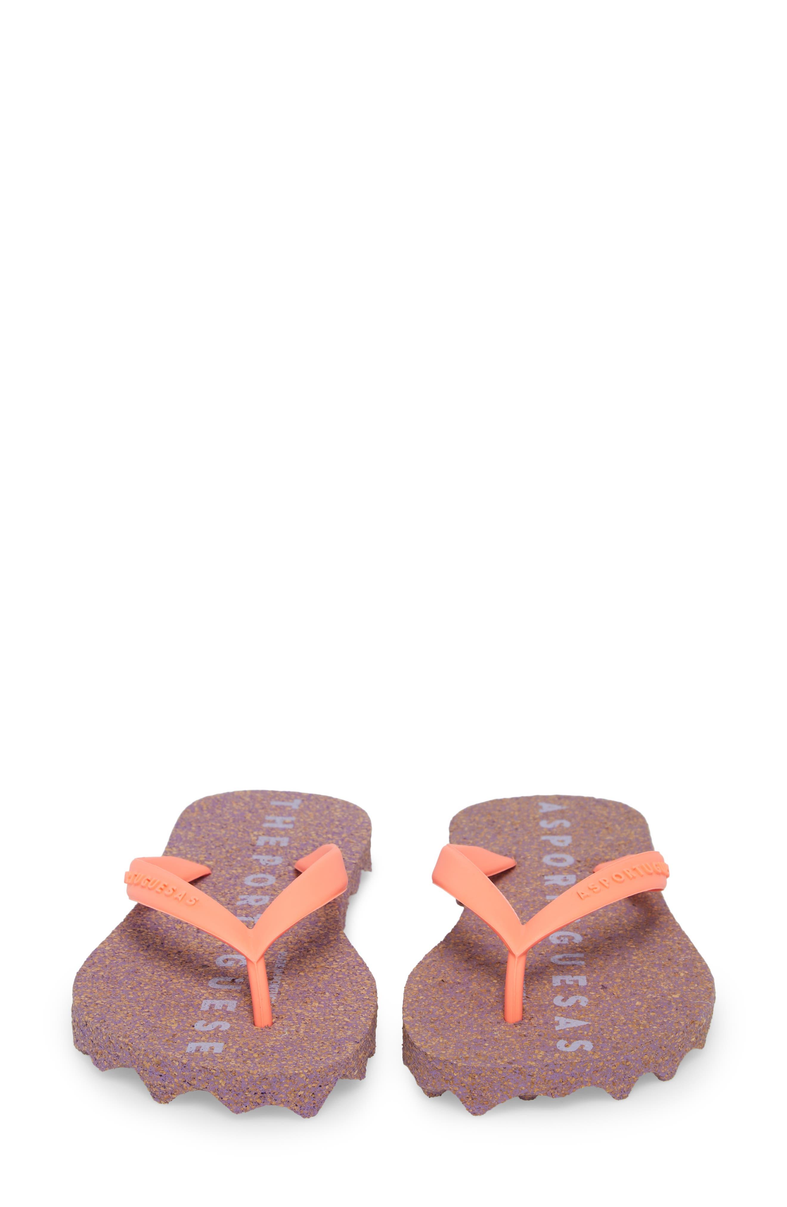 Base 000 Flip Flop,                             Alternate thumbnail 5, color,                             Coral/ Purple Fabric
